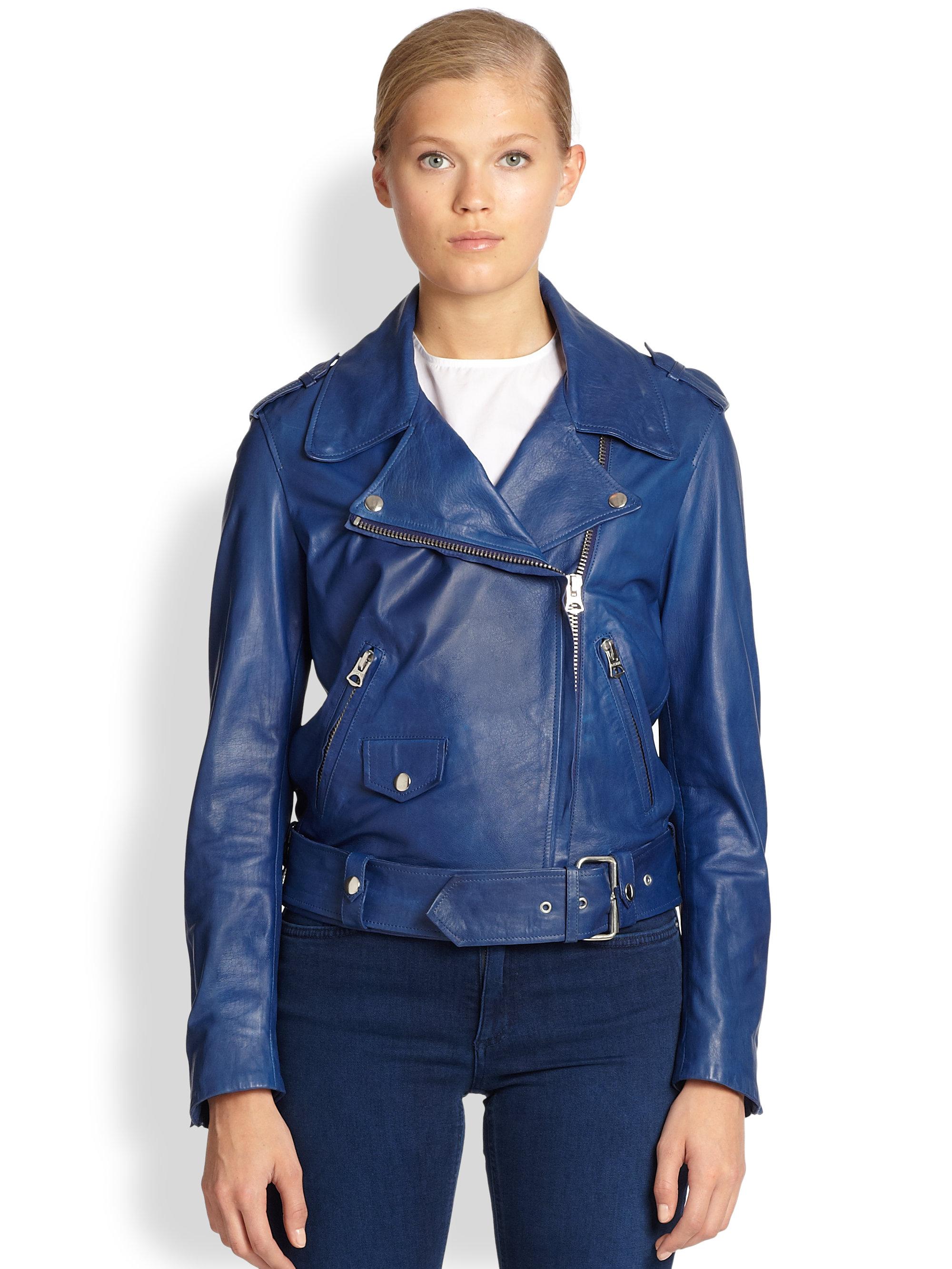 Acne studios Mape Leather Biker Jacket in Blue | Lyst