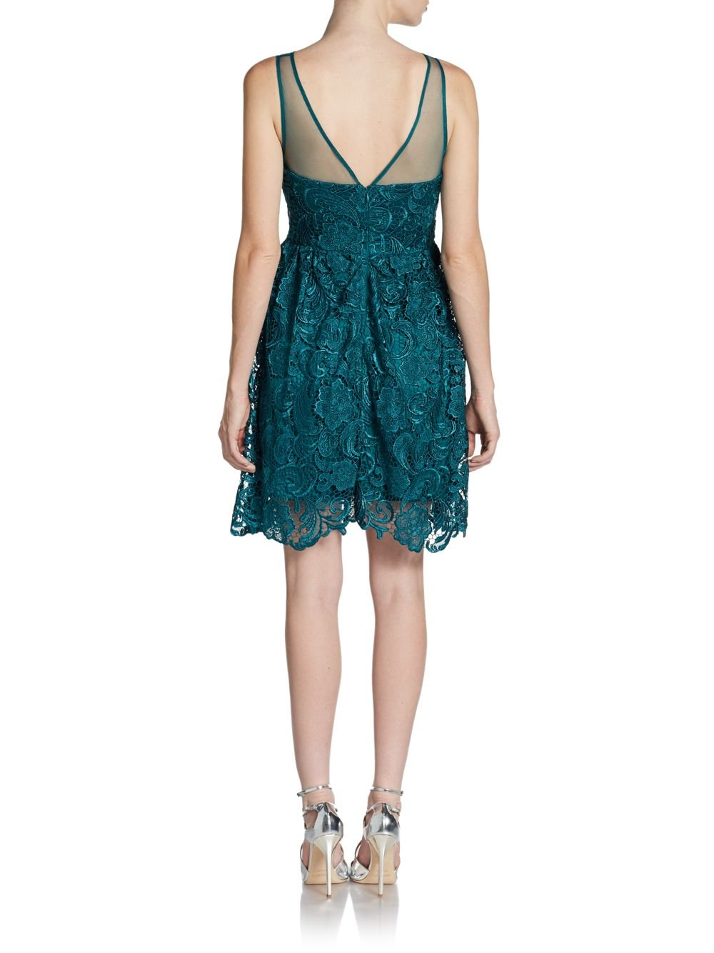 Adrianna Papell Illusion Lace Cocktail Dress In Green Lyst