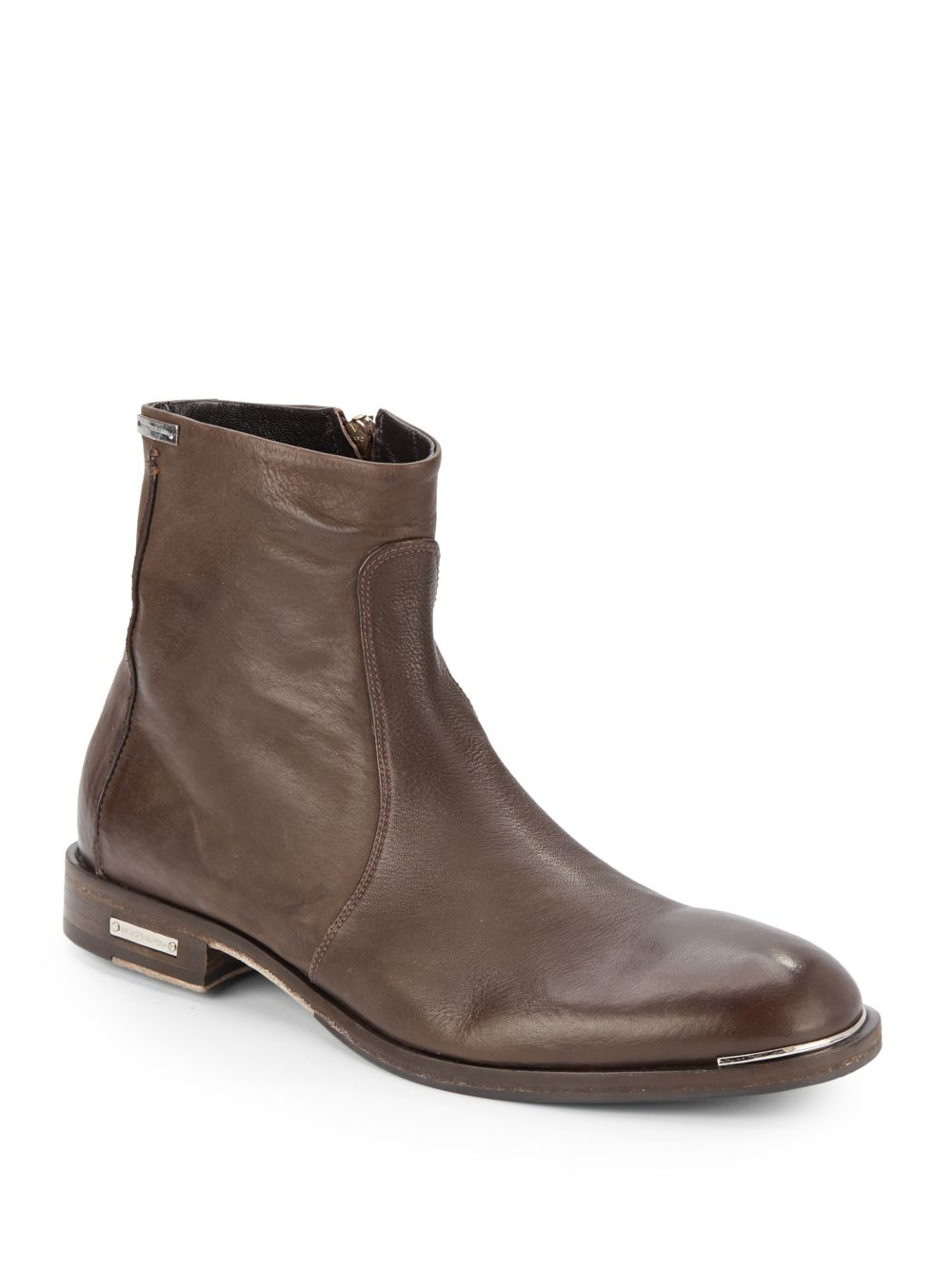 alessandro dell acqua leather ankle boots in brown for