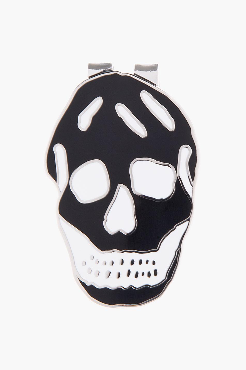Lyst Alexander Mcqueen Black Enamel Skull Money Clip In