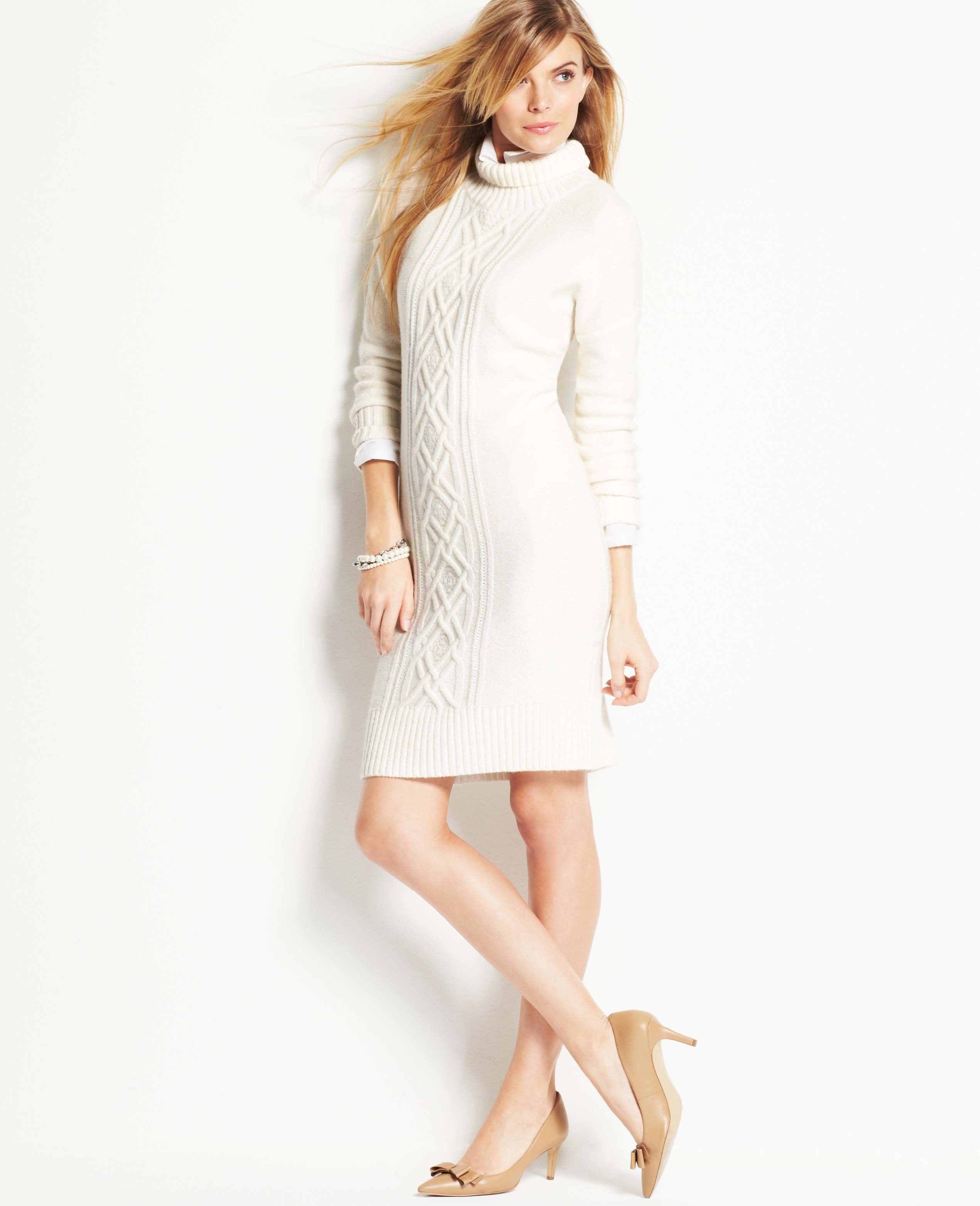 834986a2f9 Ann Taylor Cable Sweater Dress in White - Lyst