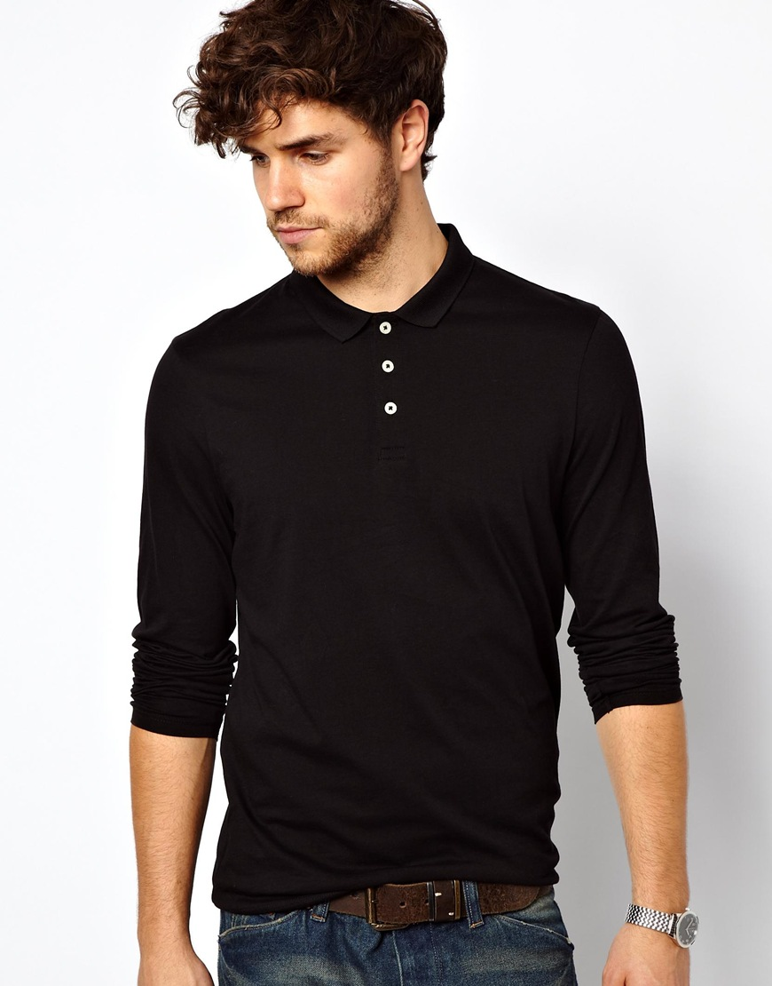 Lyst Asos Long Sleeve Polo Shirt In Jersey In Black For Men