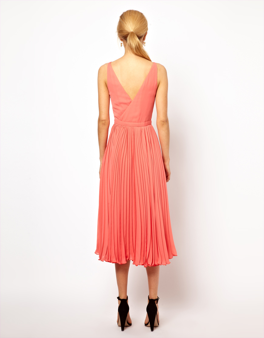 7d8abde2357e ASOS Mango Pleat and Wrap Midi Dress in Pink - Lyst