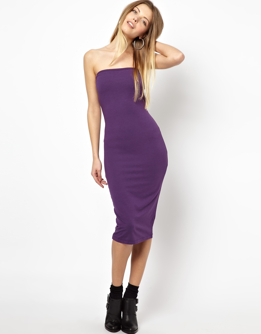 Asos Midi Bandeau Bodycon Dress in Purple