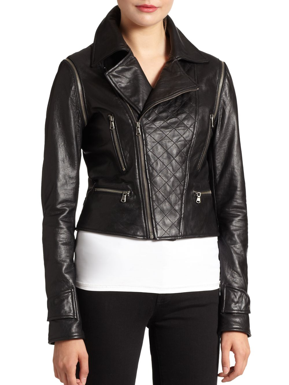 Bagatelle Quilted Convertible Leather Jacket In Black Lyst