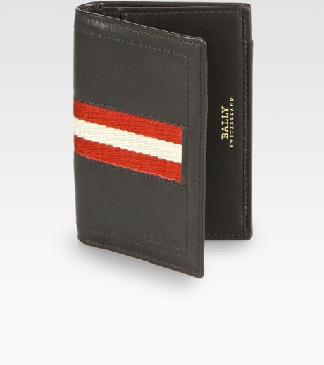 Bally Striped Business Card Holder in Black for Men