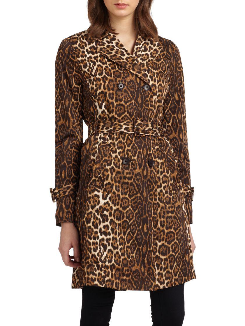 Lyst Bcbgmaxazria Leopard Print Trenchcoat In Brown