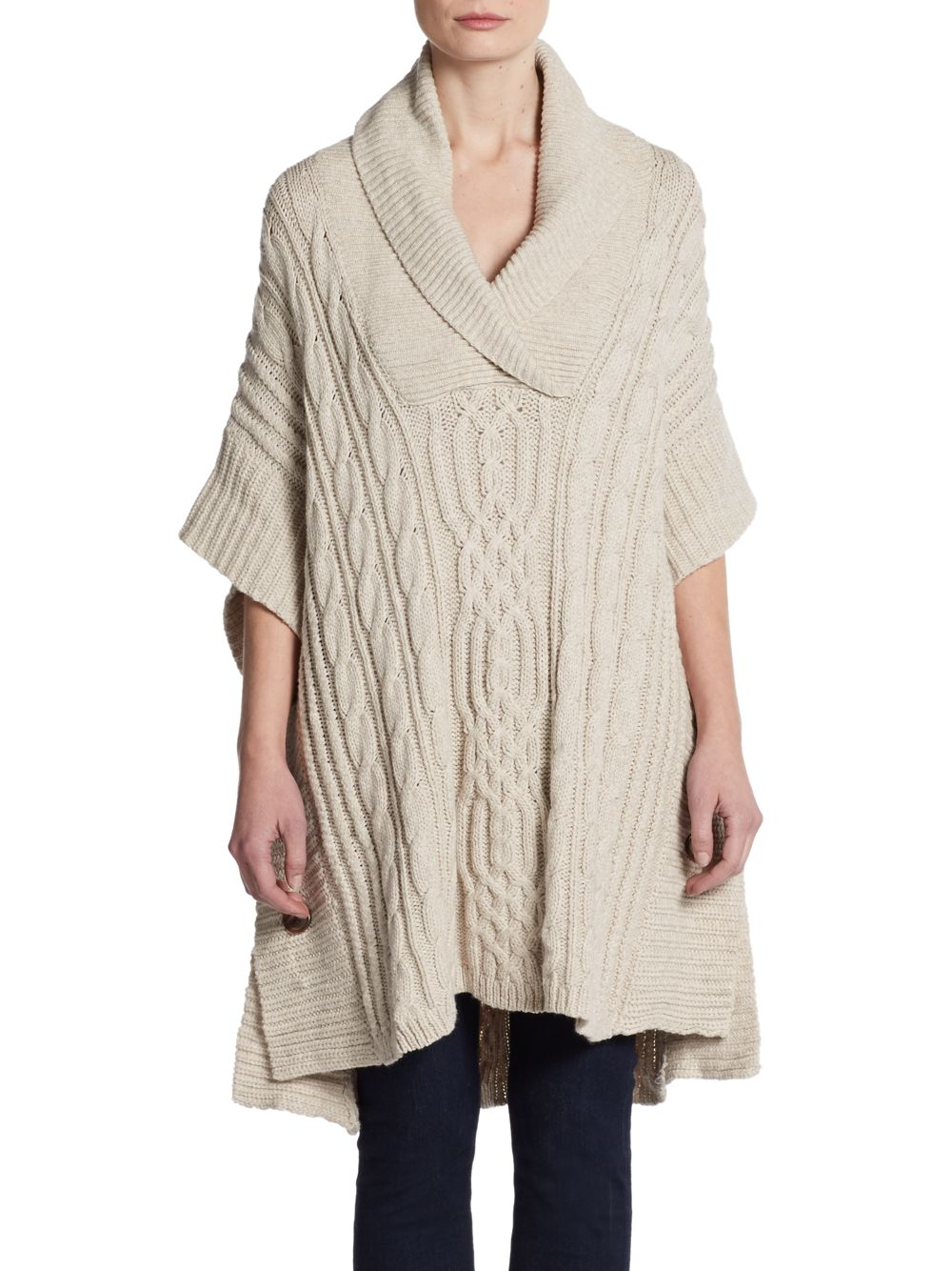 Bcbgmaxazria Side Button Cable Poncho in Natural Lyst