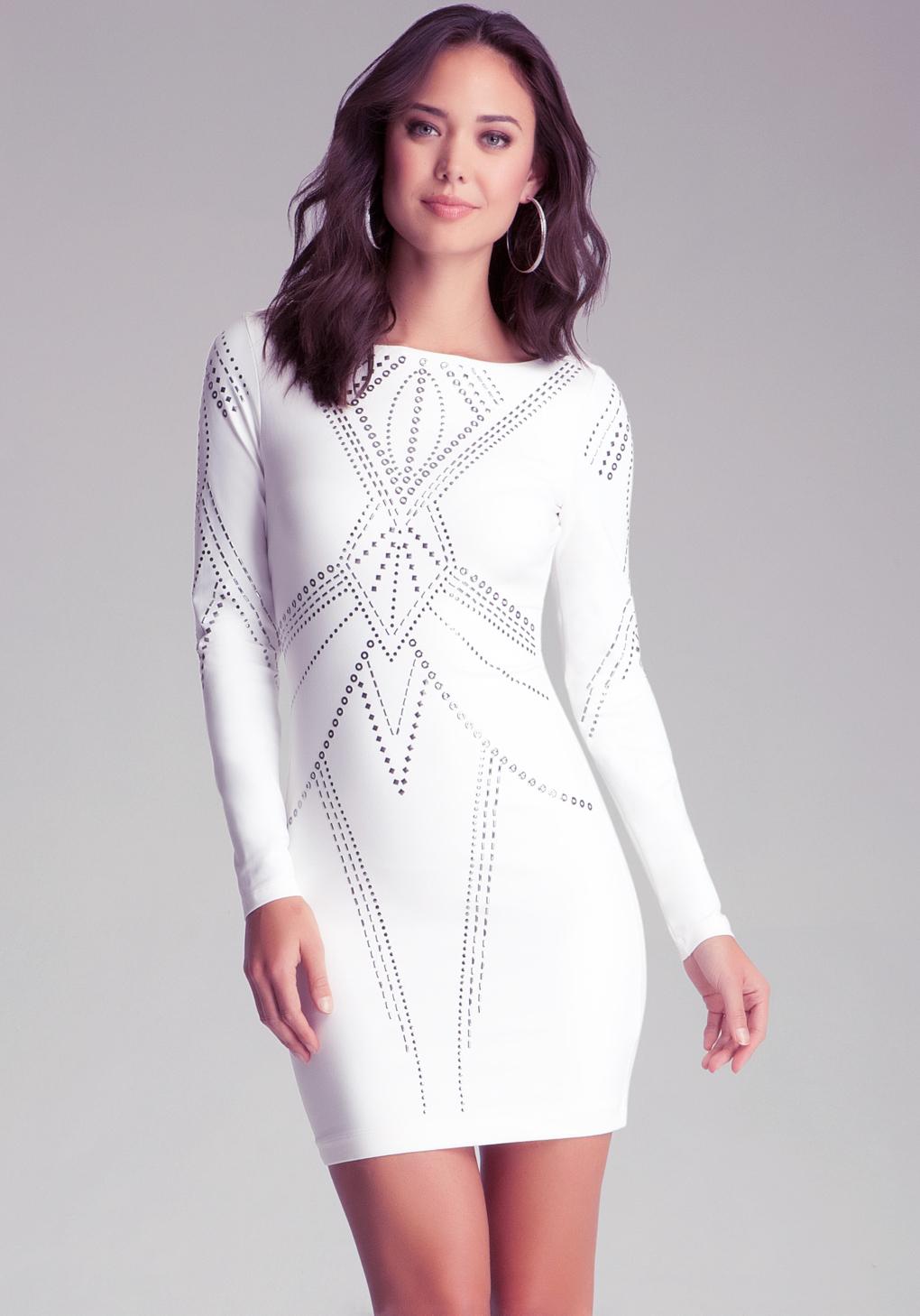 6783d75391b Bebe Boat Neck Studded Dress in White - Lyst