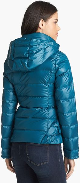 Betsey Johnson Ruffle Trim Down Jacket In Blue Slate Teal