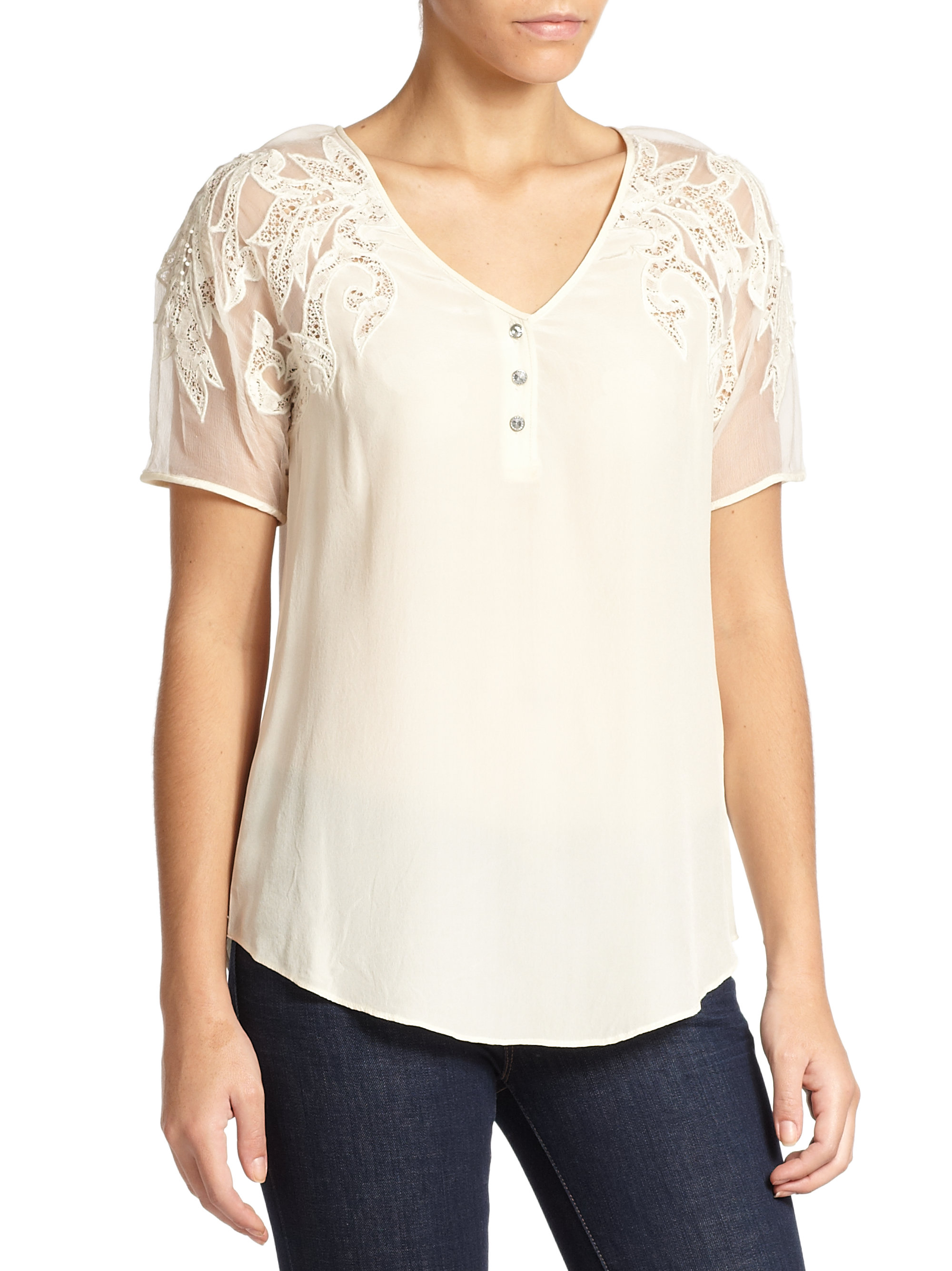 beyond vintage silk lace henley top in lyst