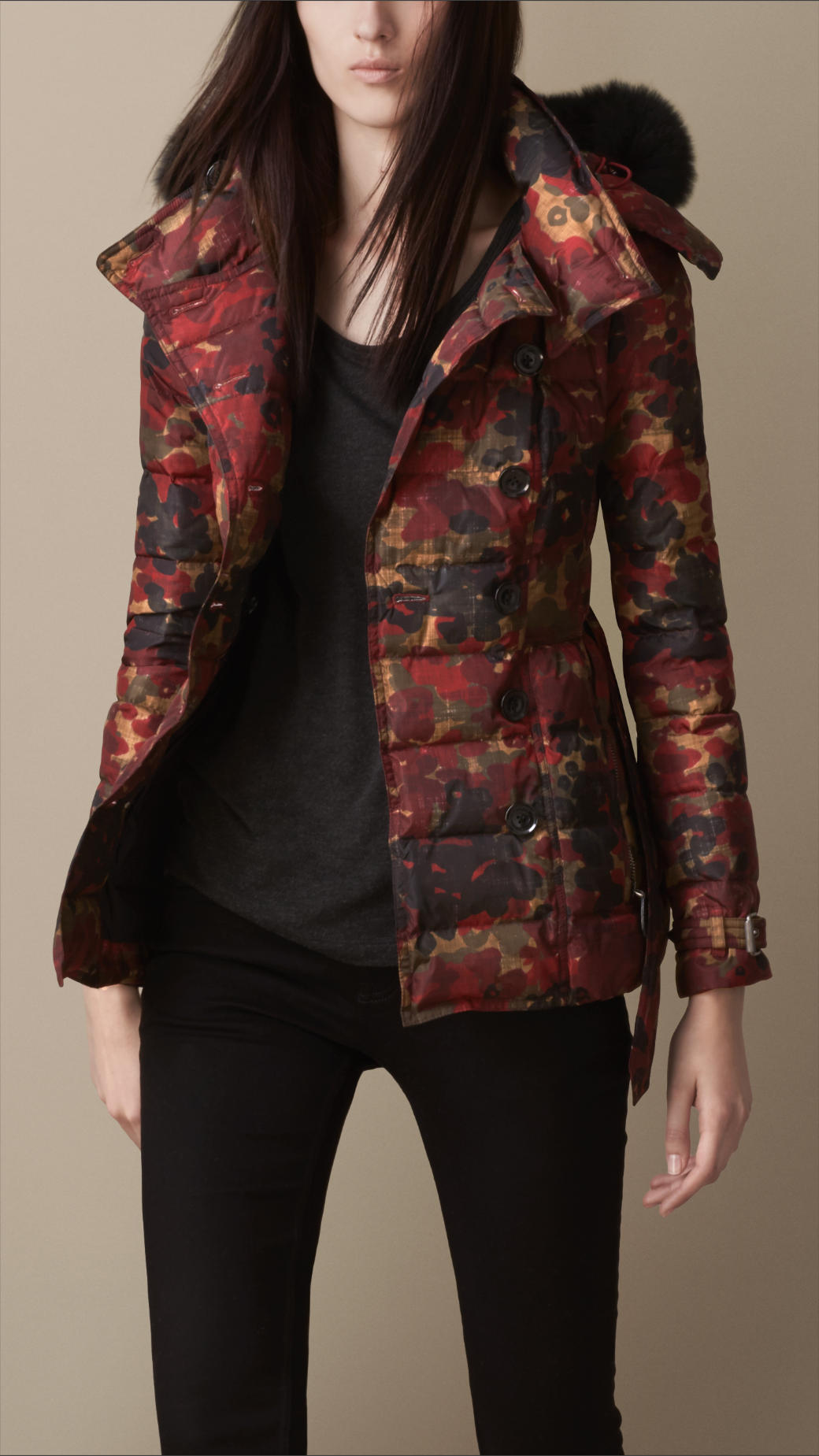 f353bc007580 Lyst - Burberry Abstract Camouflage Print Puffer Jacket with Fur ...