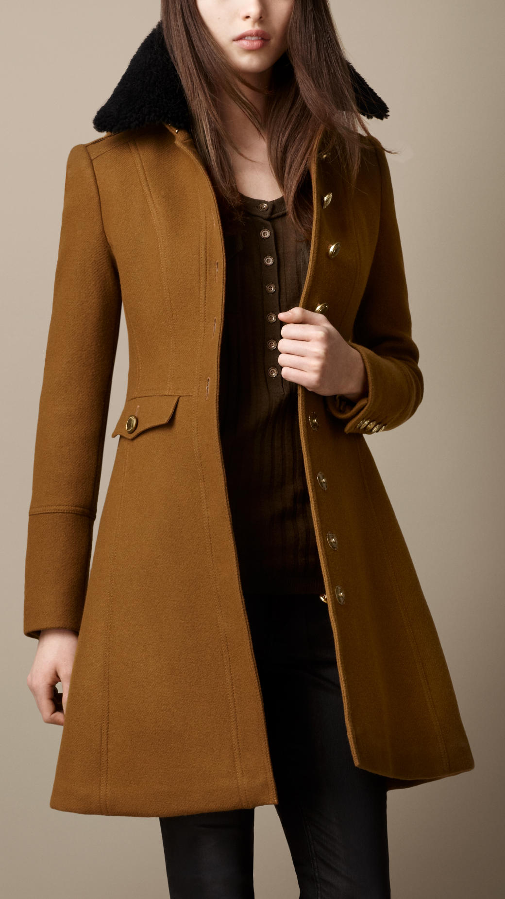 Burberry Shearling Collar Military Coat in Brown | Lyst