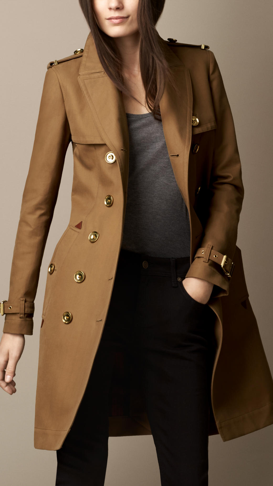 Burberry Long Bonded Cotton Trench Coat with Studded Undercollar ...