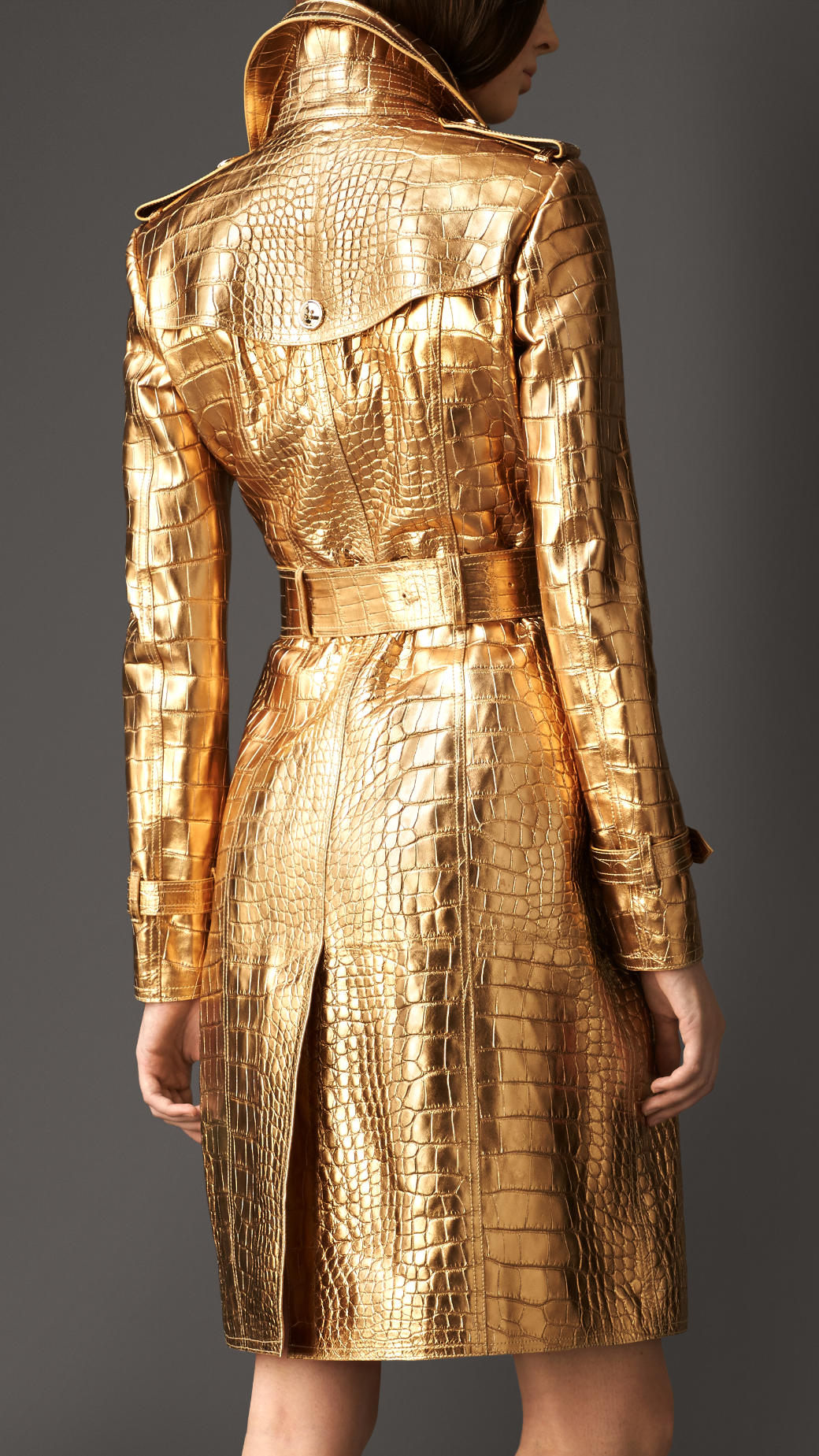 Lyst Burberry Metallic Alligator Leather Trench Coat In