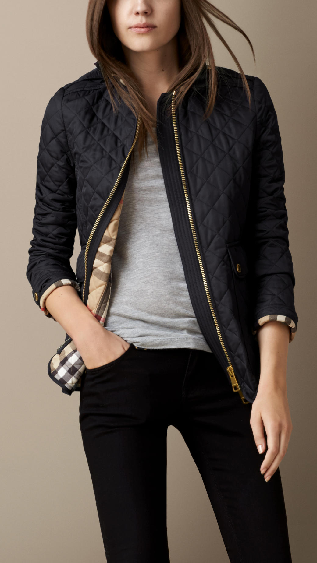 Burberry Corduroy Collar Quilted Jacket in Navy (Blue) - Lyst