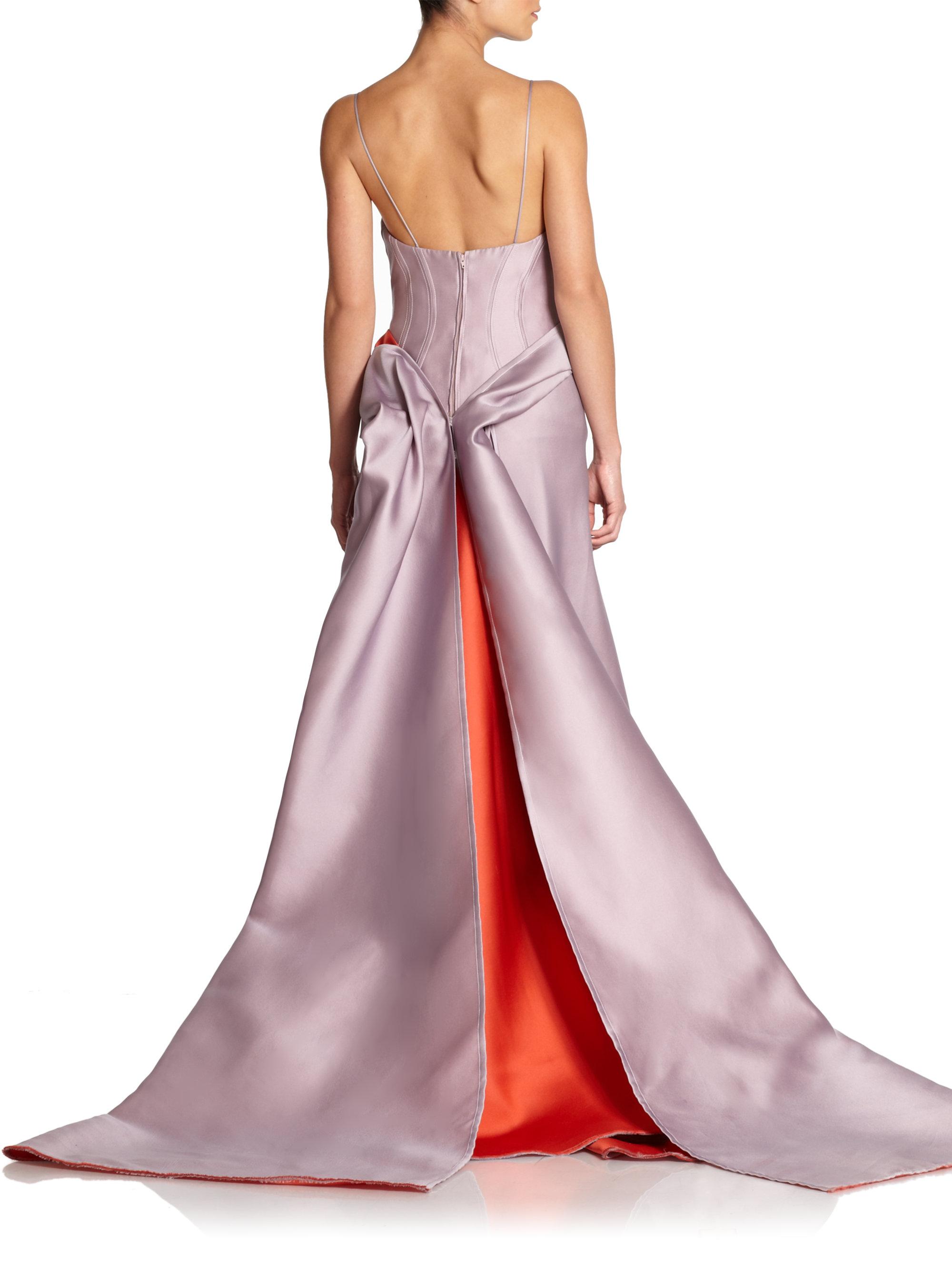 Lyst Carolina Herrera Folded Evening Gown In Purple