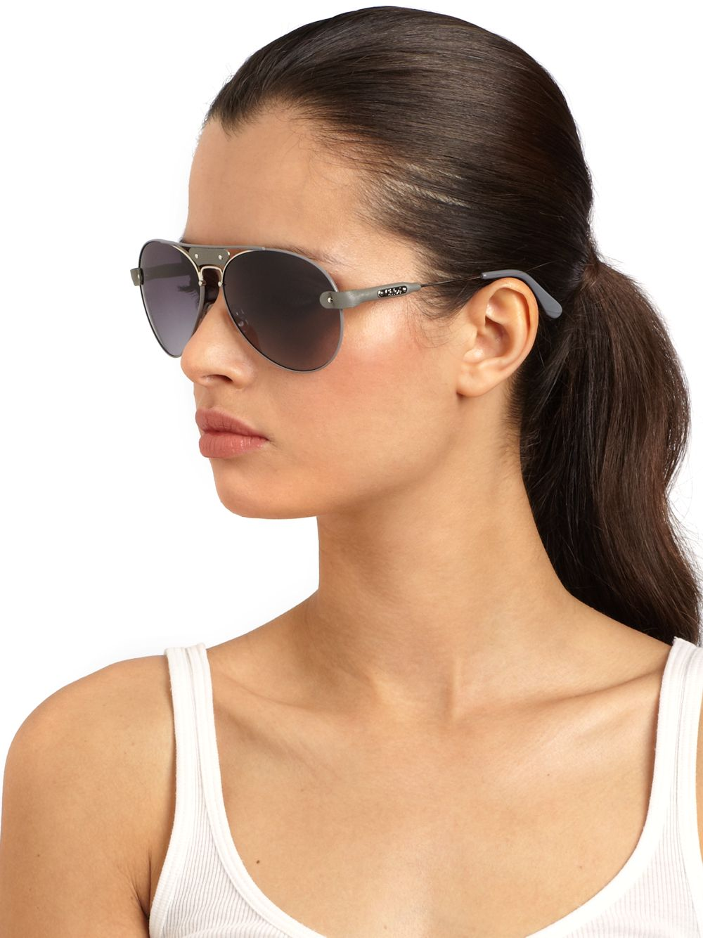 Chloe Aviator Sunglasses  chloé leather metal aviator sunglasses in gray lyst