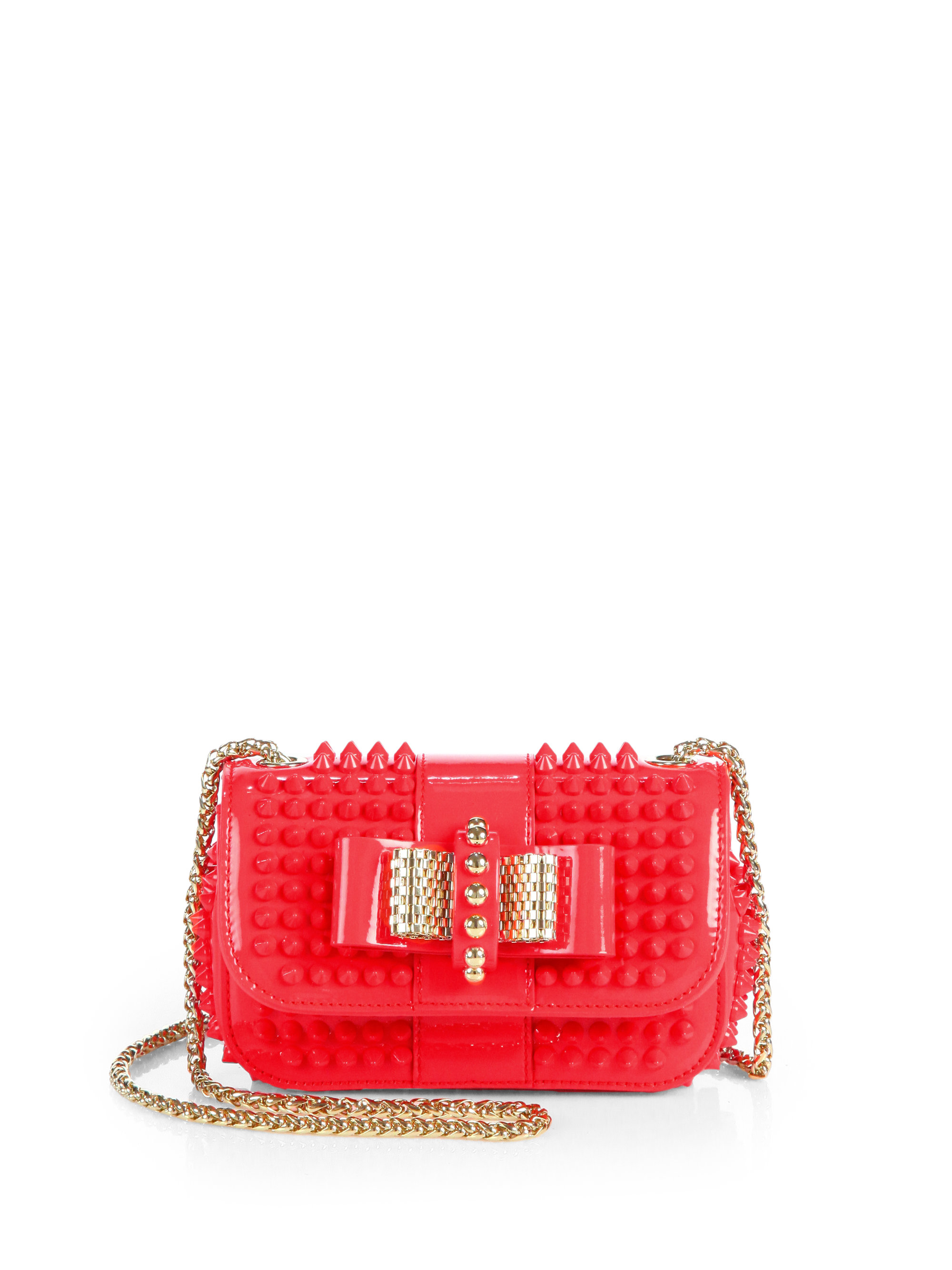 71064655178 Christian Louboutin Red Leather Spiked 'Sweet Charity' Shoulder Bag