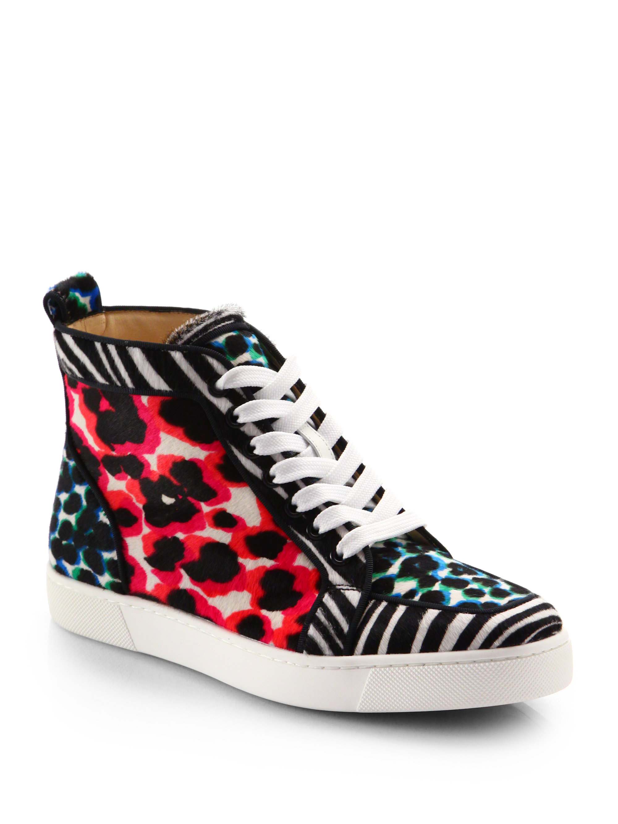 aeed1c77a3a Christian Louboutin Multicolor Animalprint Pony Hair Hightop Sneakers