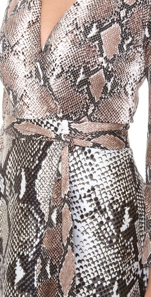 Diane Von Furstenberg Amelia Wrap Dress In Gray Python