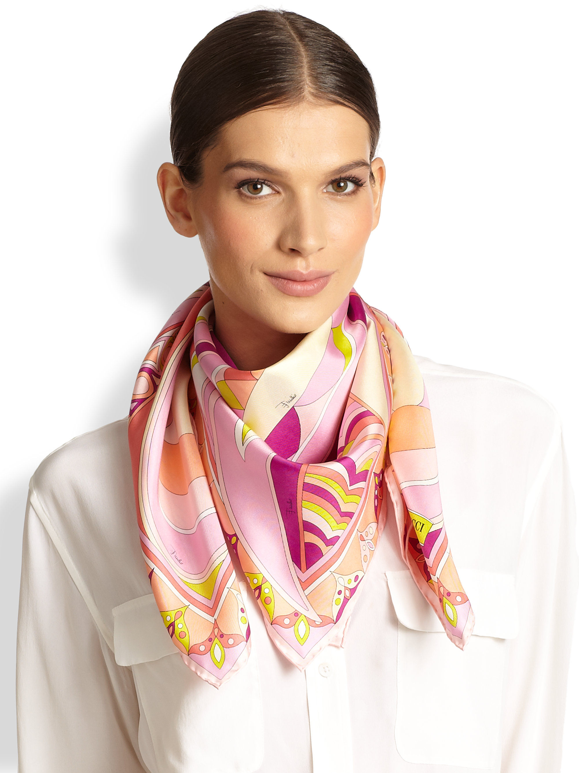 Lyst Emilio Pucci Silk Scarf In Pink