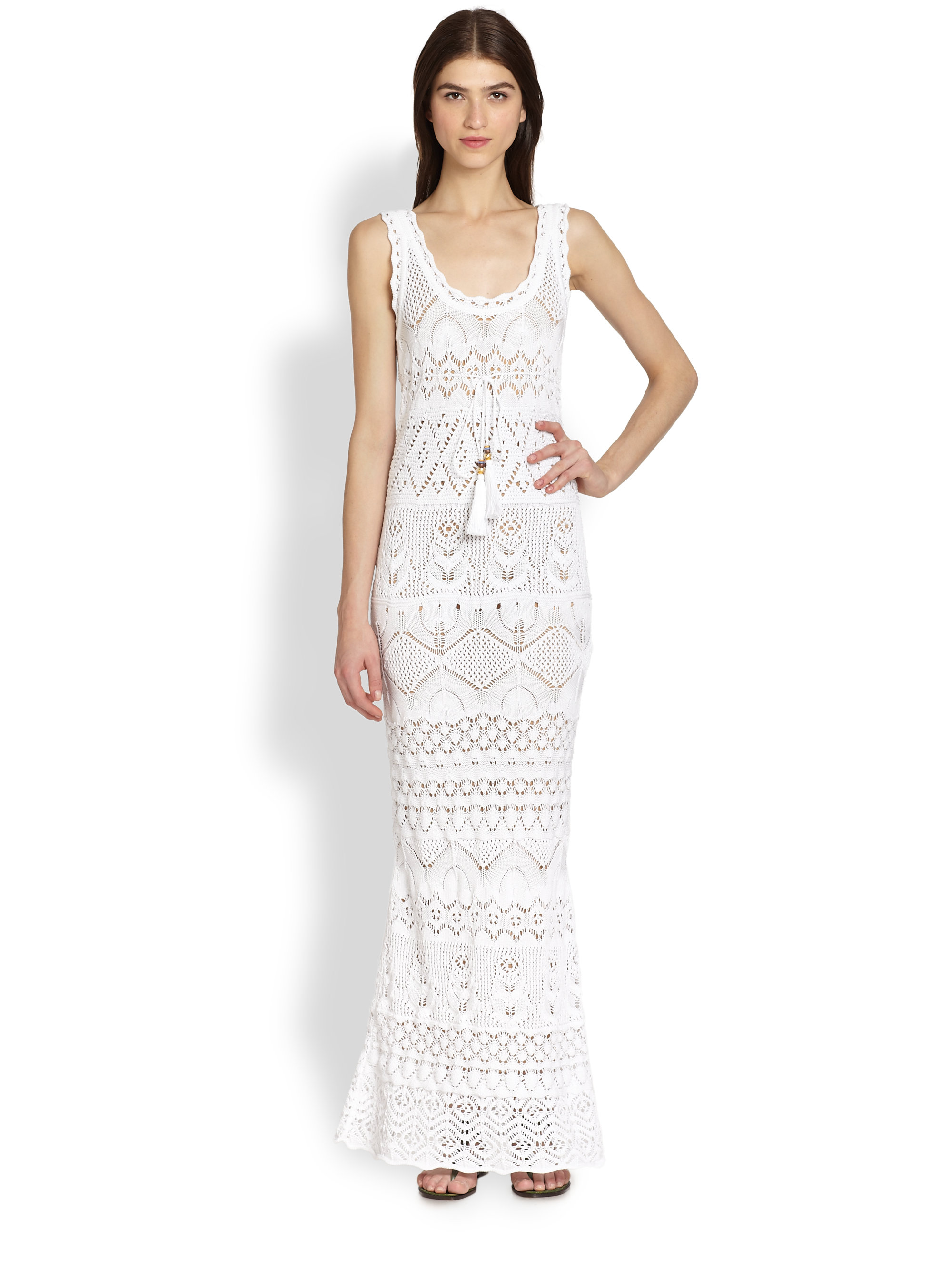 Emilio pucci Sleeveless Crochetknit Maxi Dress in White | Lyst
