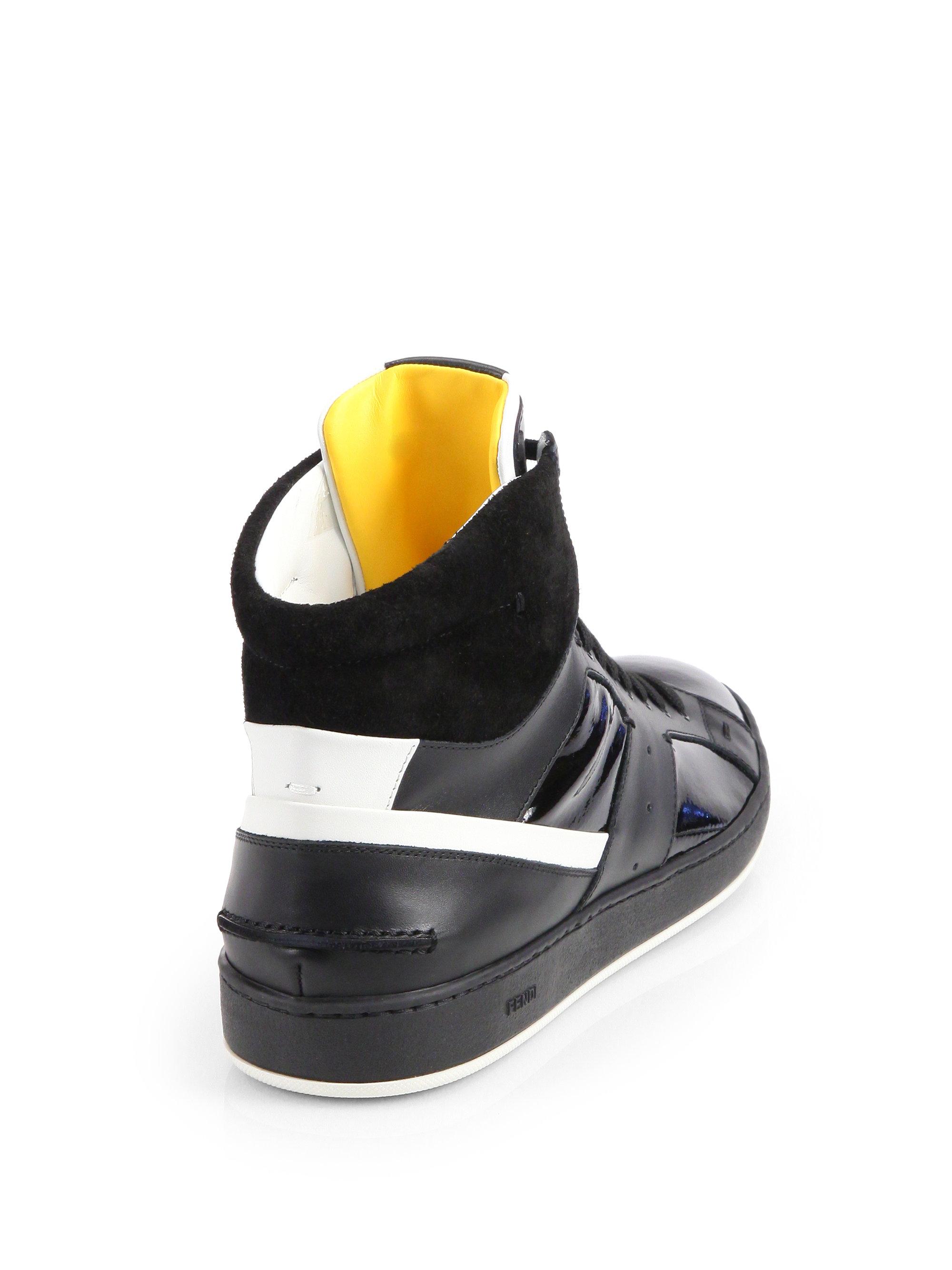 e6c6cf4f919f Fendi Mixed Media Hightop Sneakers in Black for Men