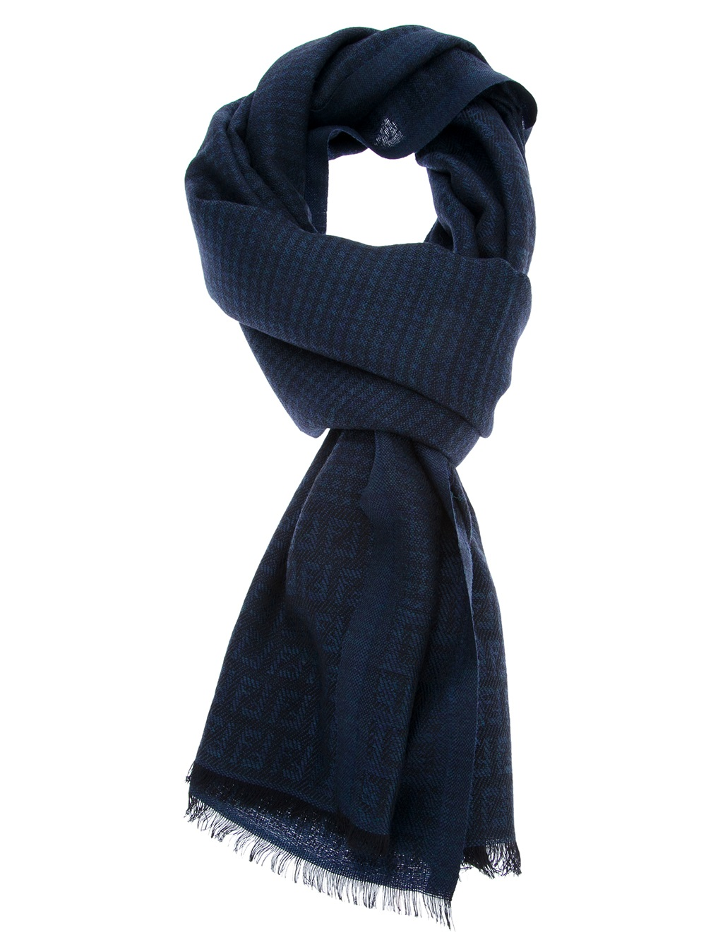 fendi logo scarf in blue for lyst