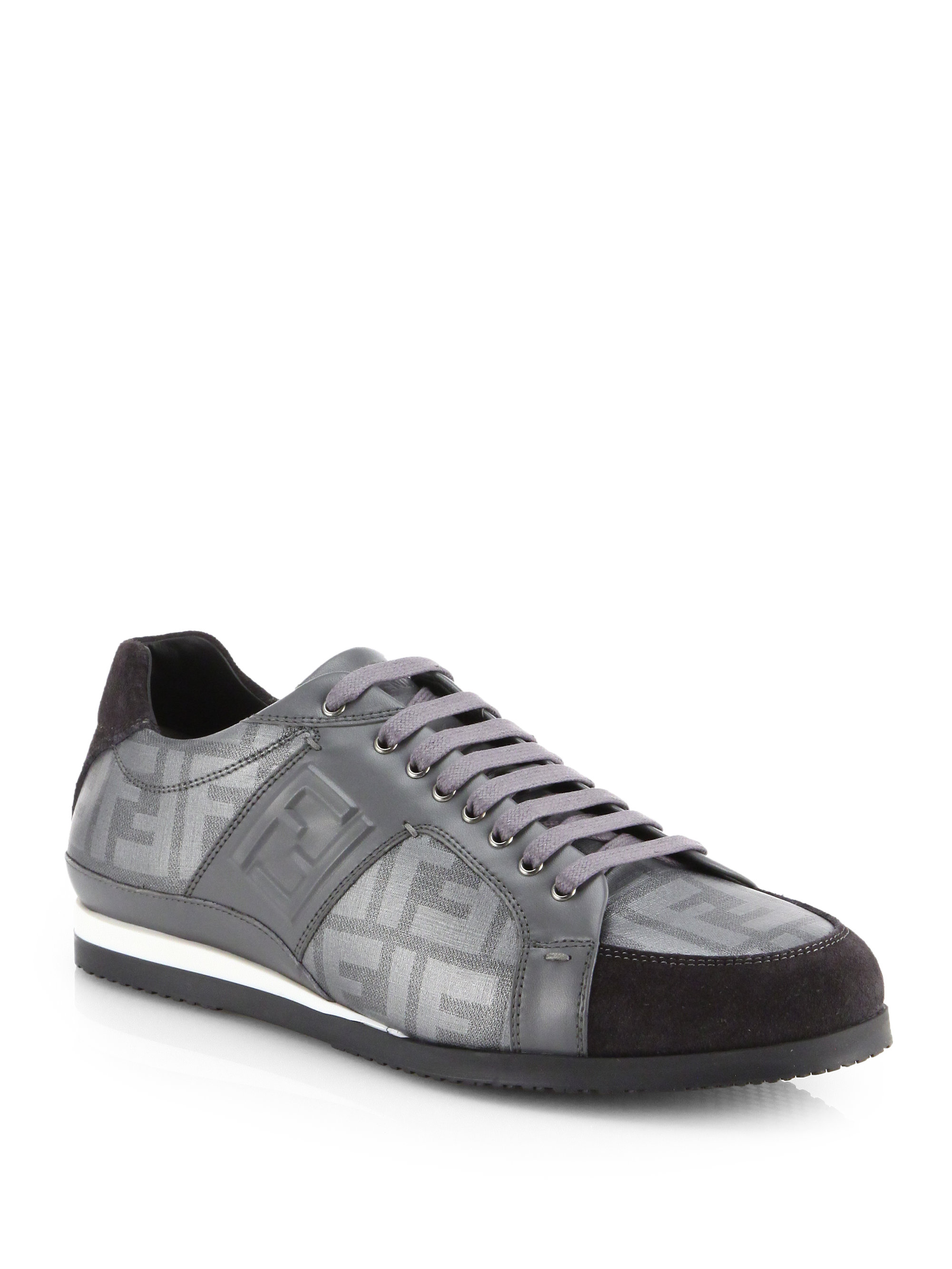 Lyst - Fendi Zucca Laceup Sneakers in Gray for Men 383409f2f05d9