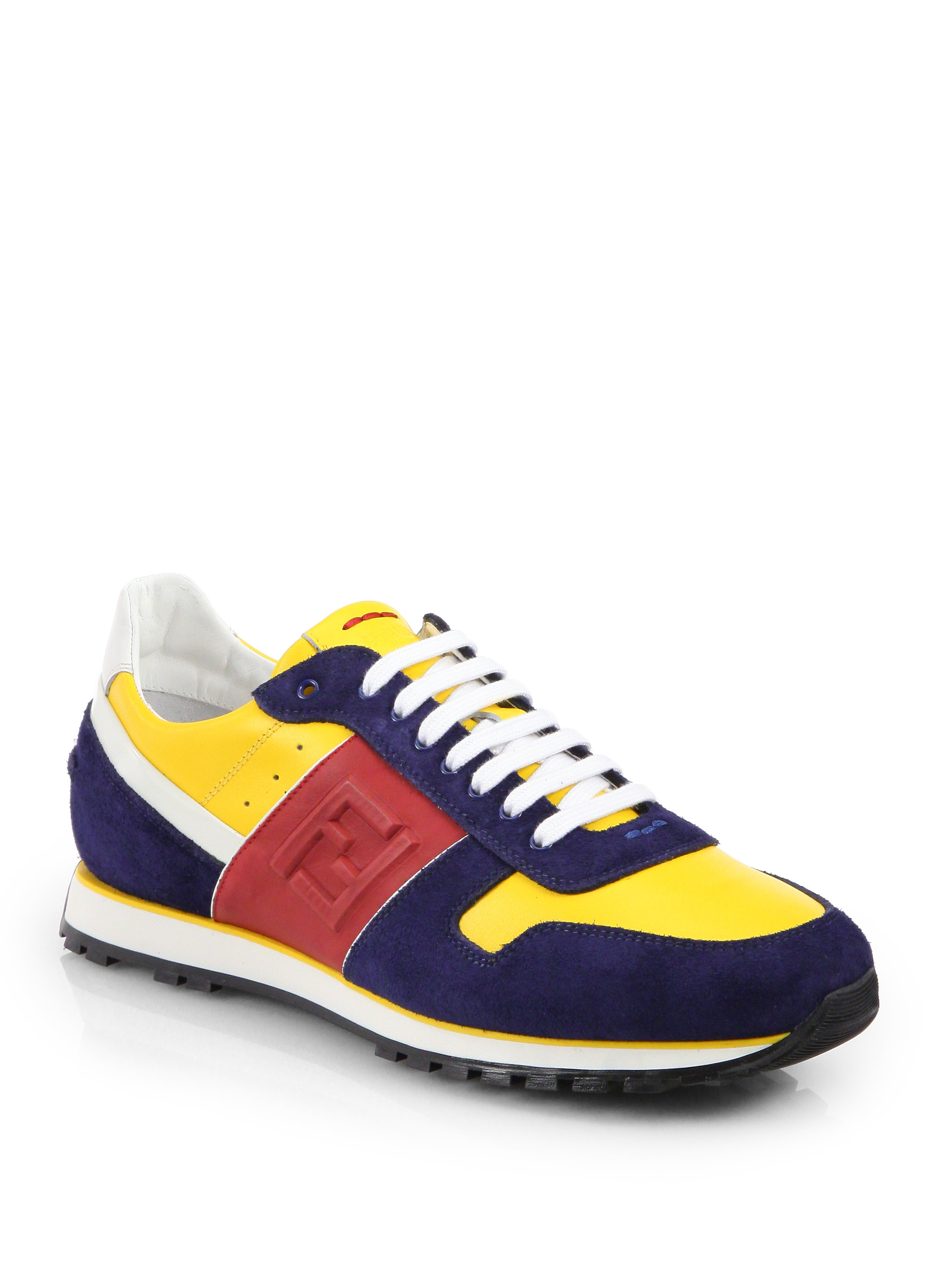 Lyst Fendi Multicolored Laceup Sneakers In Yellow For Men
