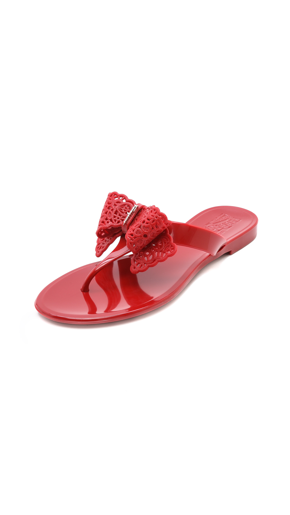 Lyst Ferragamo Pandy Jelly Thong Sandals Rosso In Red