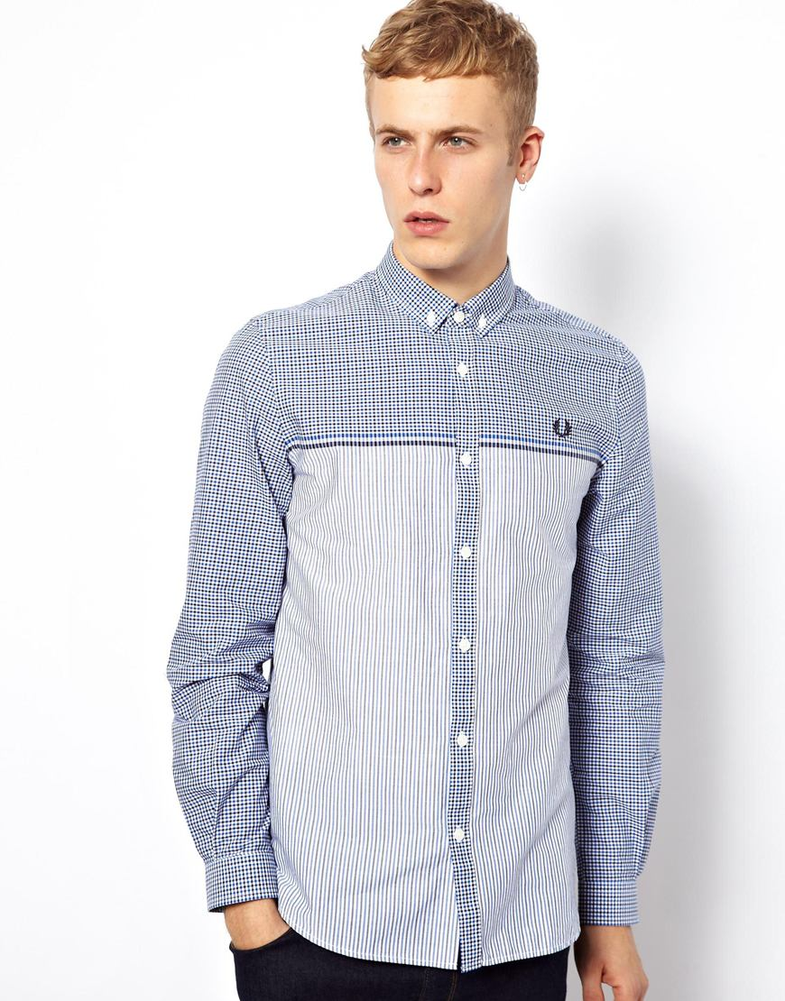 8b5f41a8 Fred Perry Shirt with Chest Stripe in Blue for Men - Lyst
