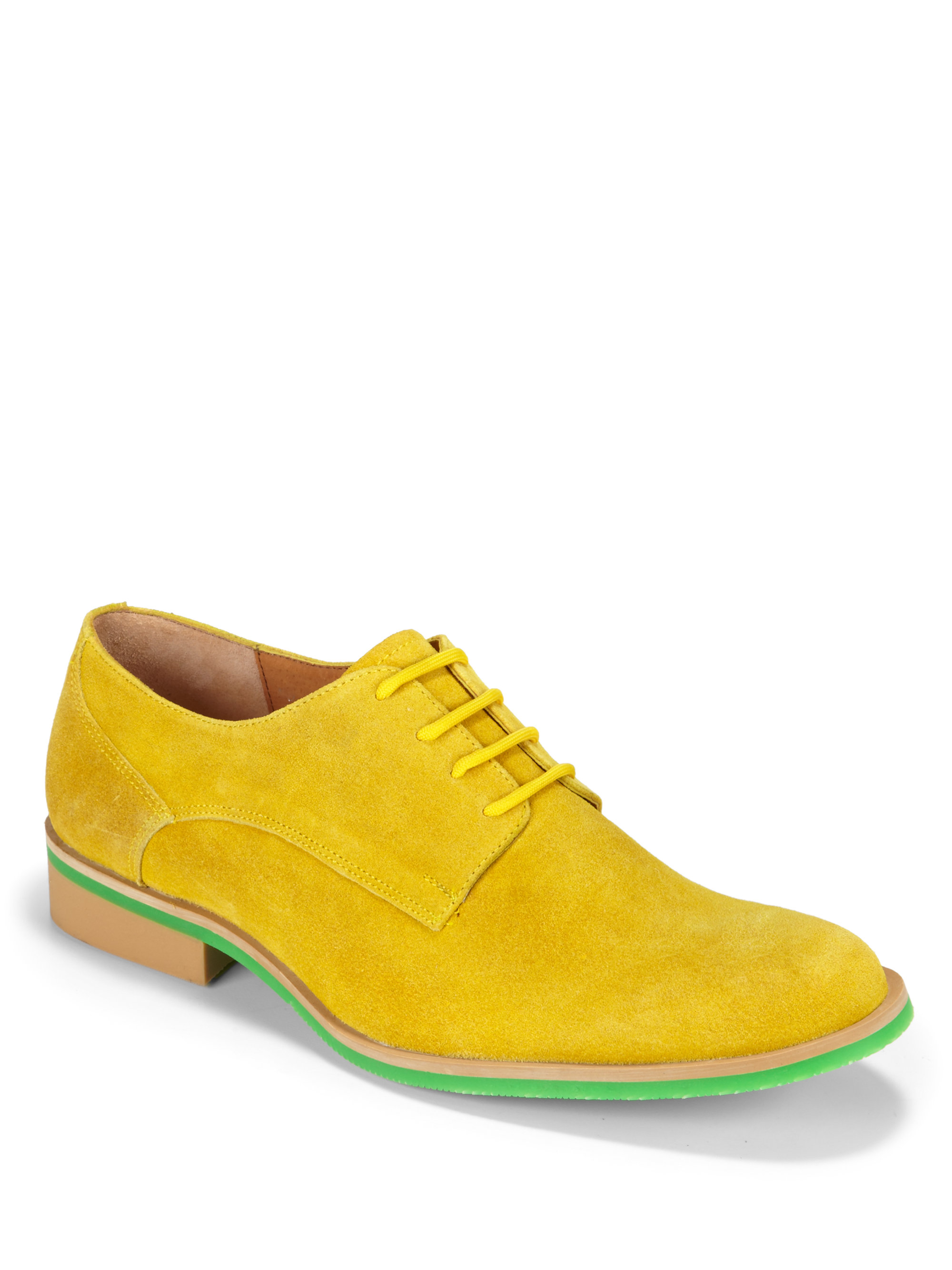 jd fisk callum suede laceup shoes in yellow for lyst