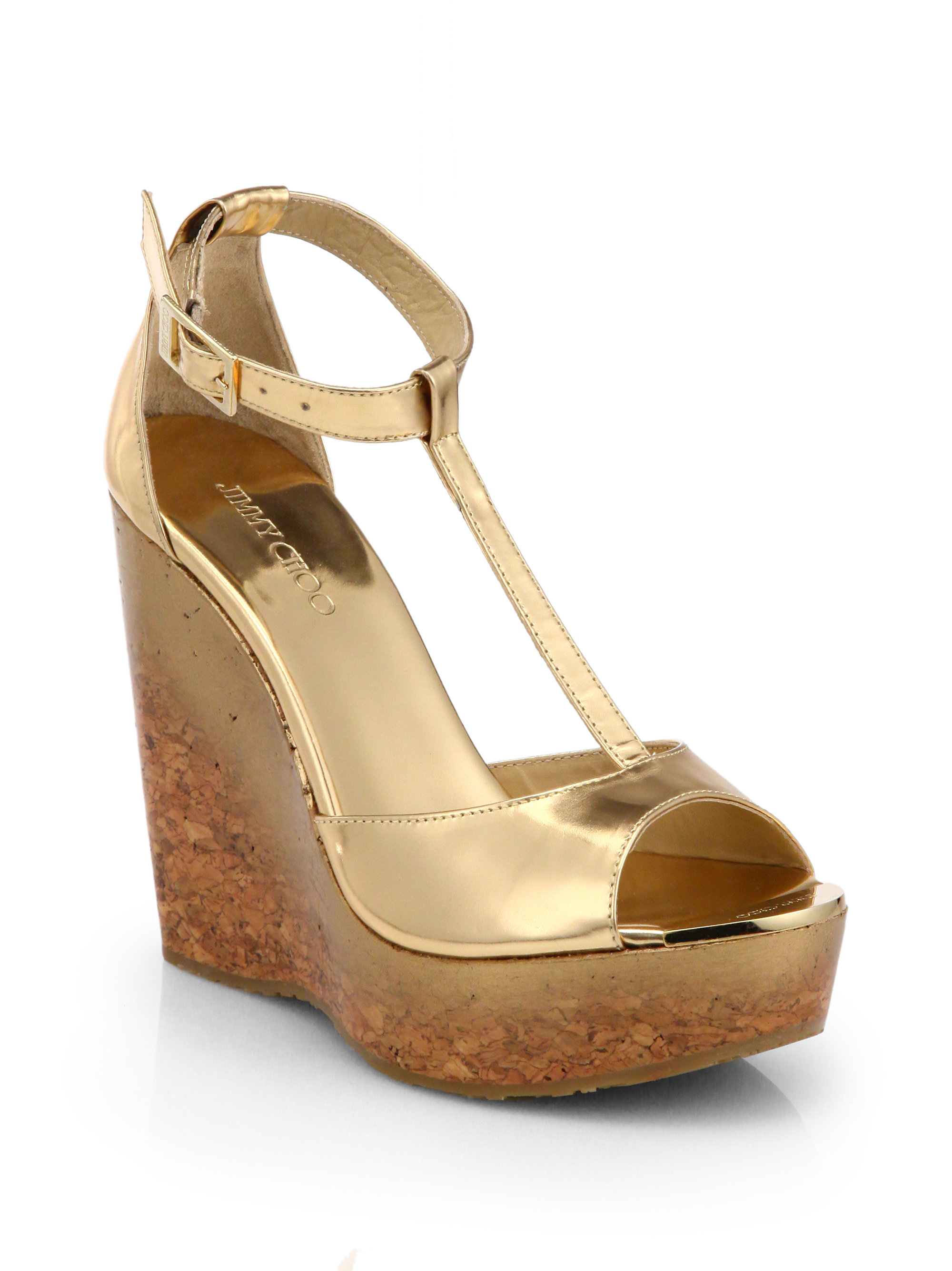 73db2d400b2b low cost jimmy choo gold sandals 03173 2995f  coupon code for lyst jimmy  choo pela degrade metallic leather cork wedge sandals ca41a d9044
