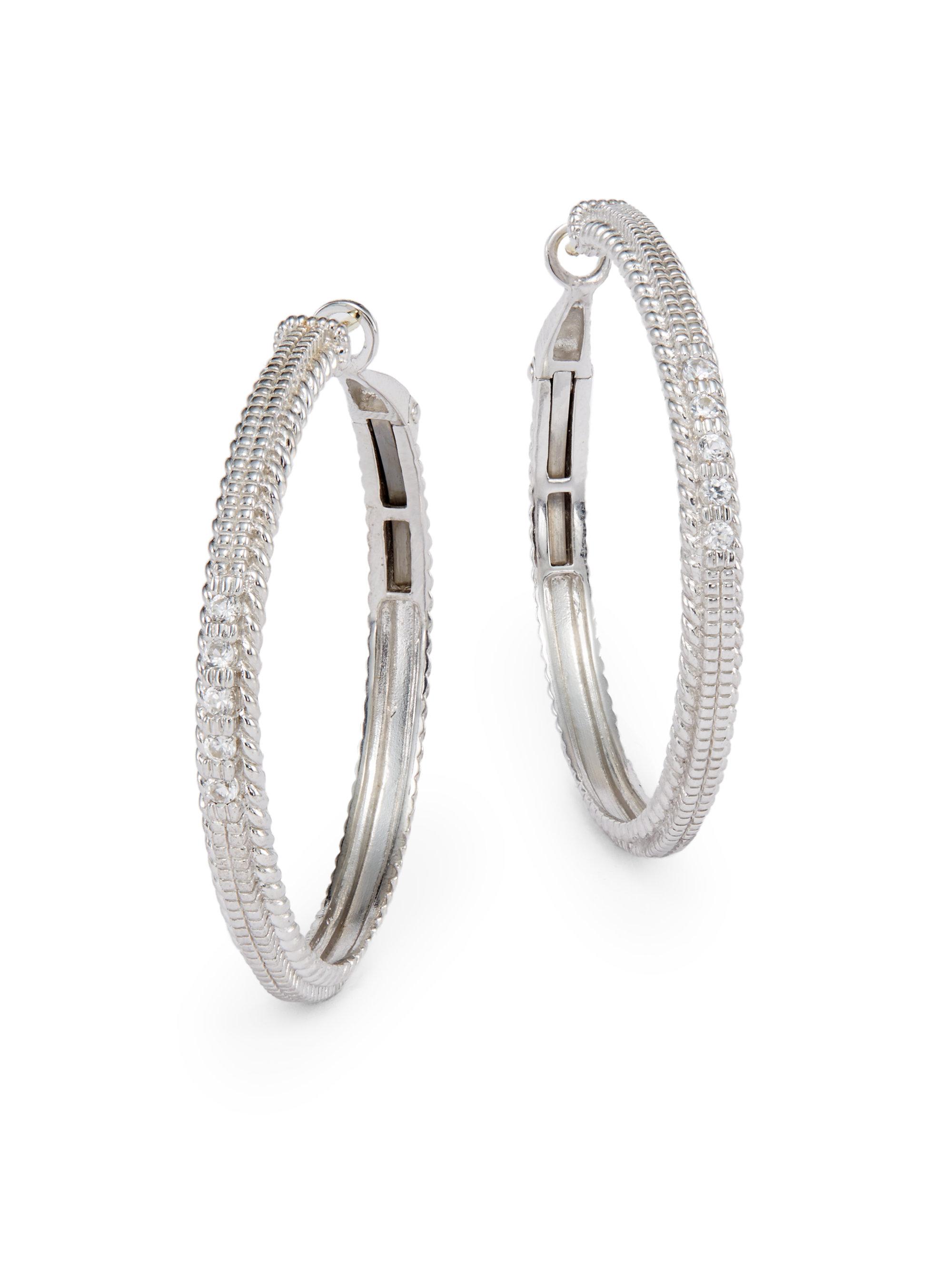 fbc76c9bd9ecf Judith Ripka Metallic White Sapphire Sterling Silver Hoop Earrings