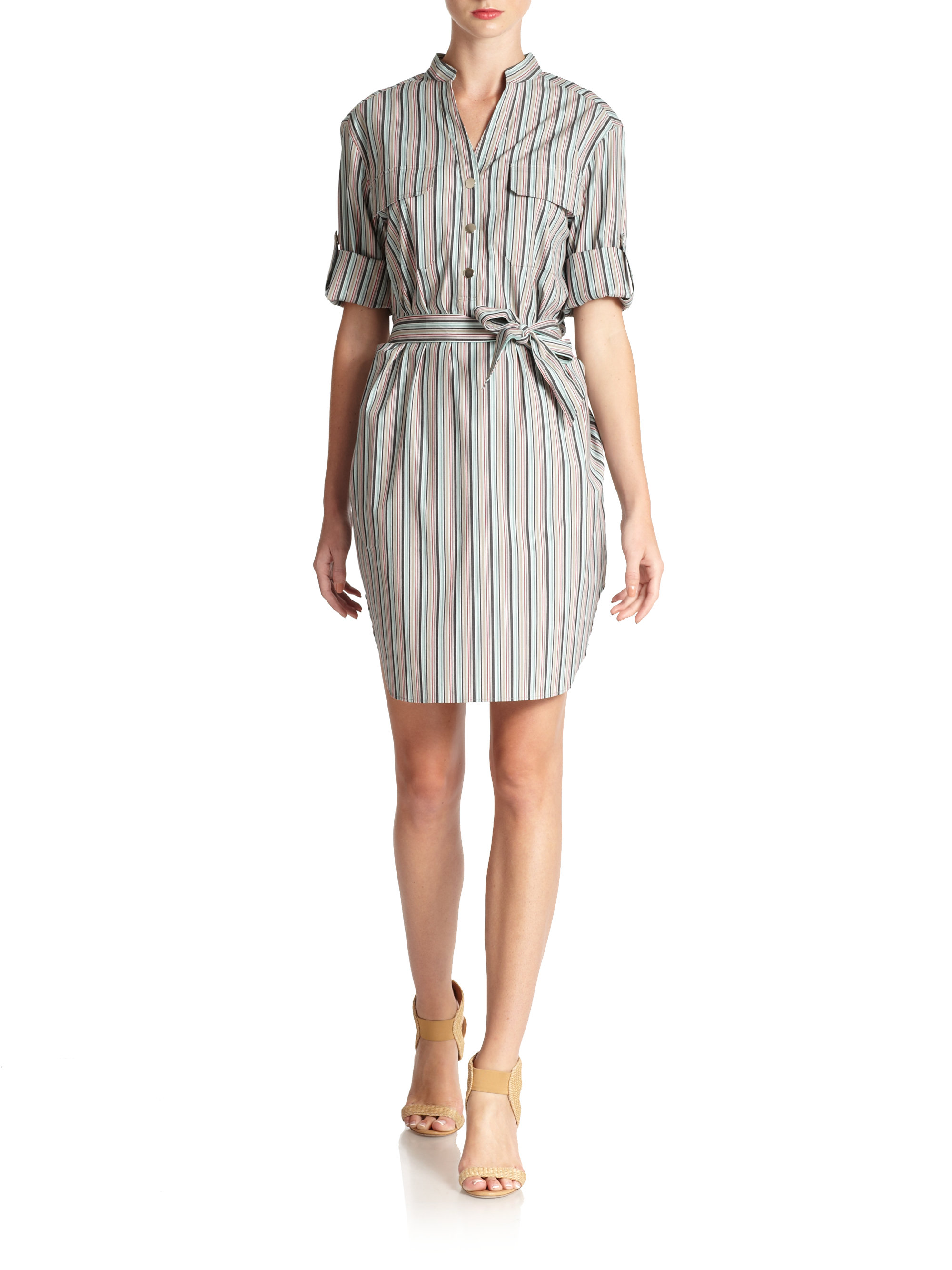 Lafayette 148 new york striped shirt dress in gray multi for New york and company dress shirts