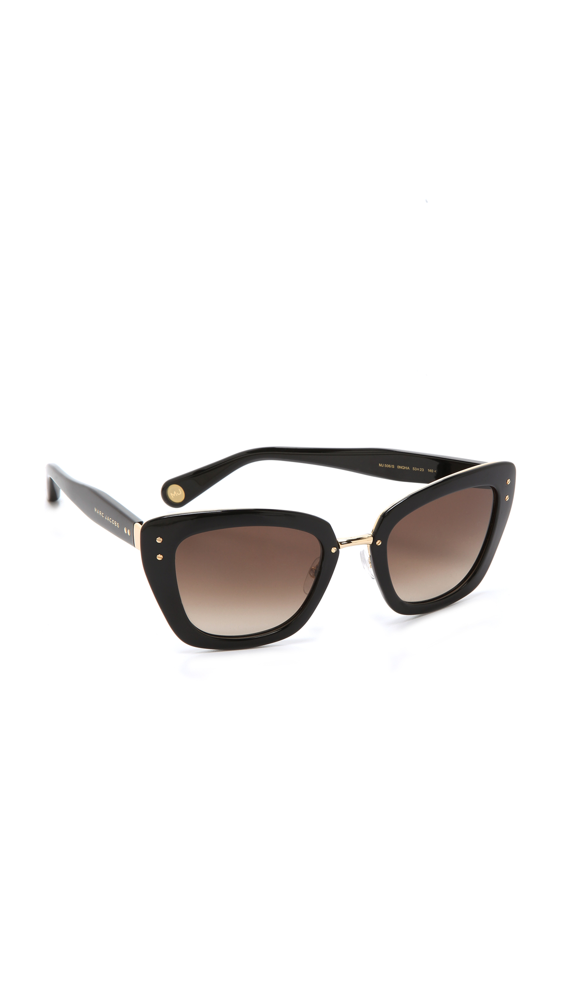 Thick Frame Glasses Black : Marc jacobs Thick Frame Sunglasses - Gold/Black/Brown ...