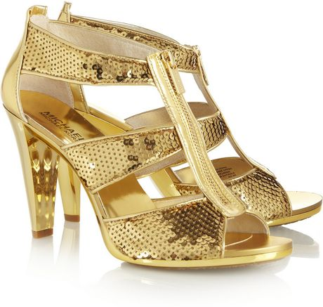 Michael By Michael Kors Berkley Sequined Leather Sandals