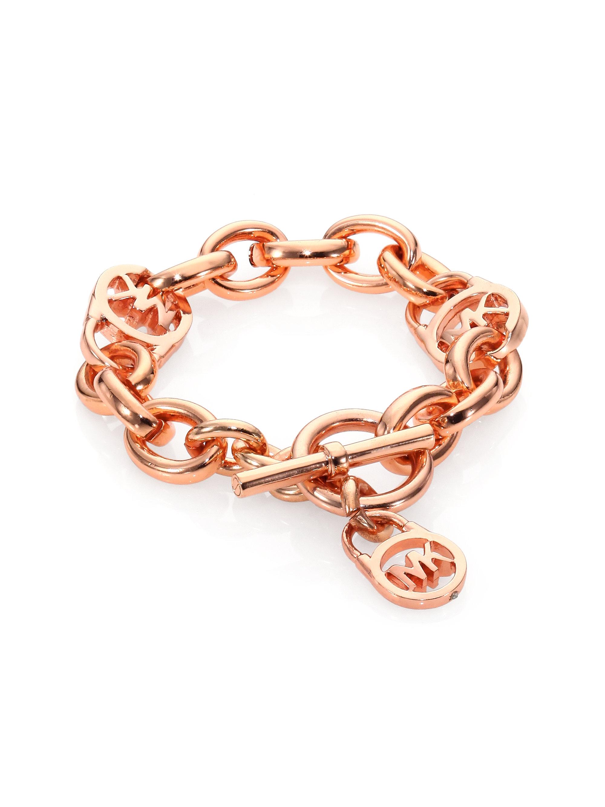 Michael kors Heritage Fulton Padlock Charm Toggle Bracelet in Metallic ...