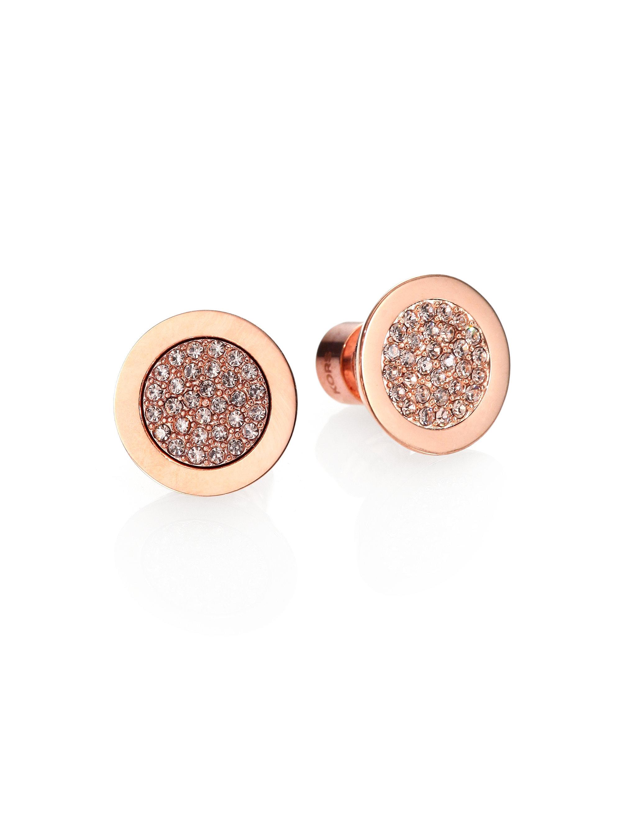 d47682d4271e Lyst - Michael Kors Pav Eacute  Slice Stud Earrings Rose Goldtone in ...