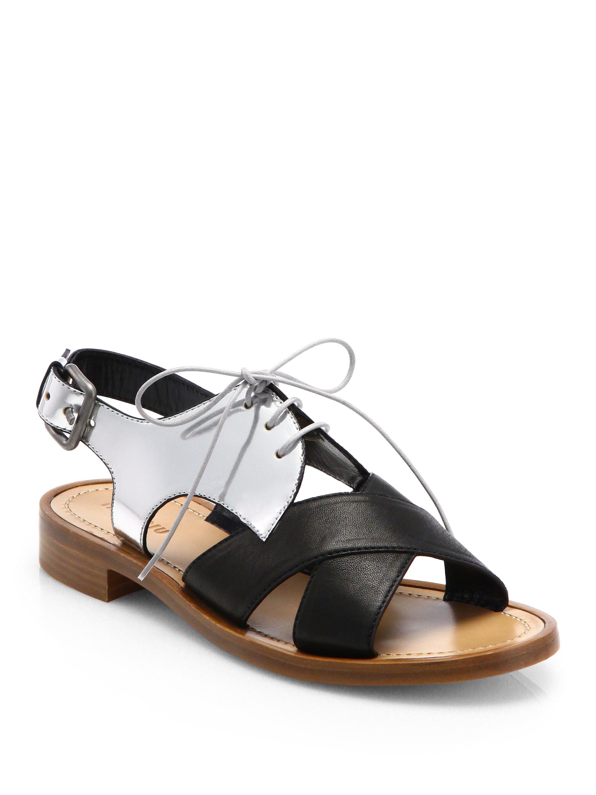 Miu Miu Bicolor Metallic Leather Cutout Sandals In Black
