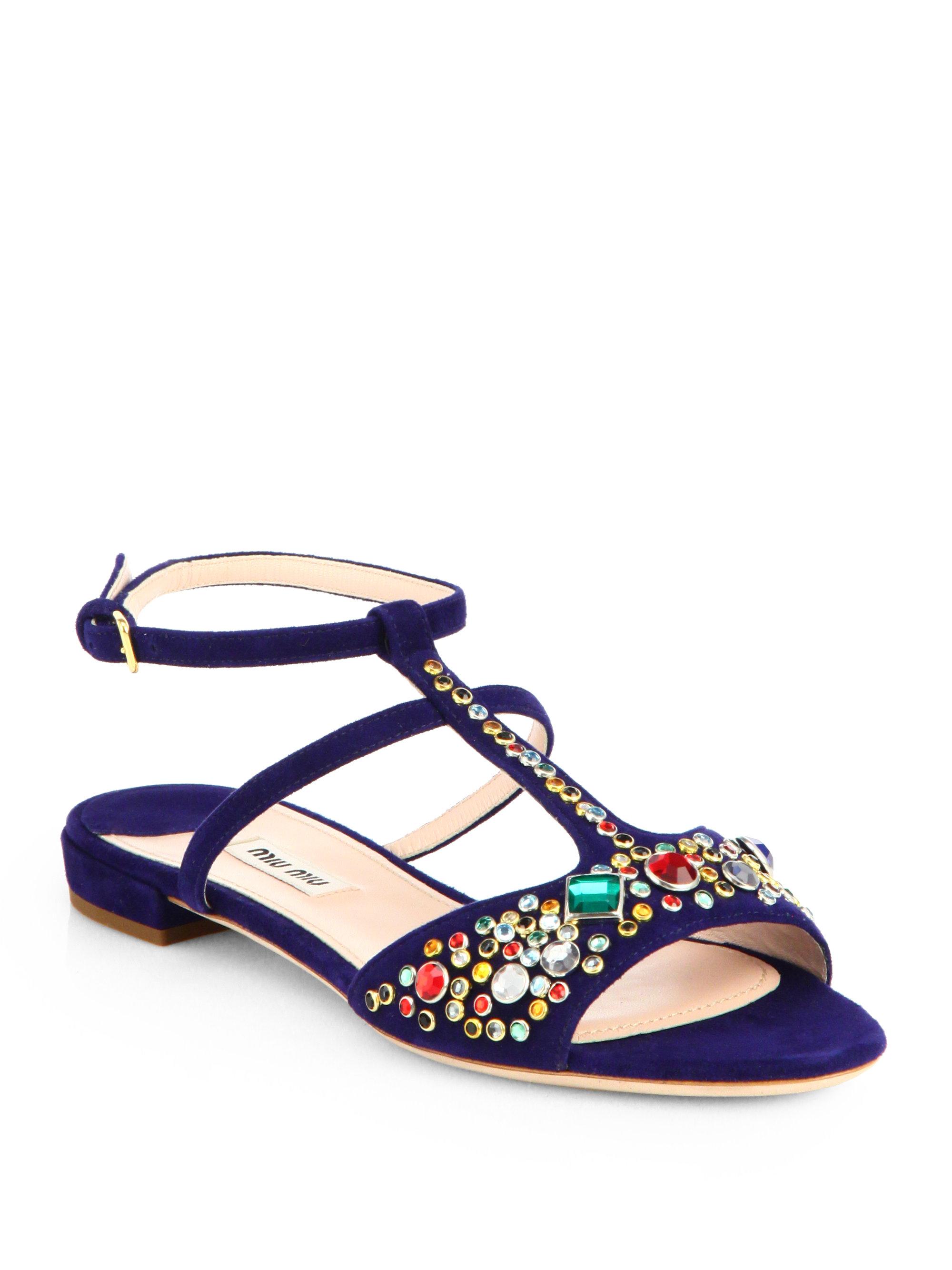 Miu Miu Jeweled Suede Sandals In Blue Navy Lyst
