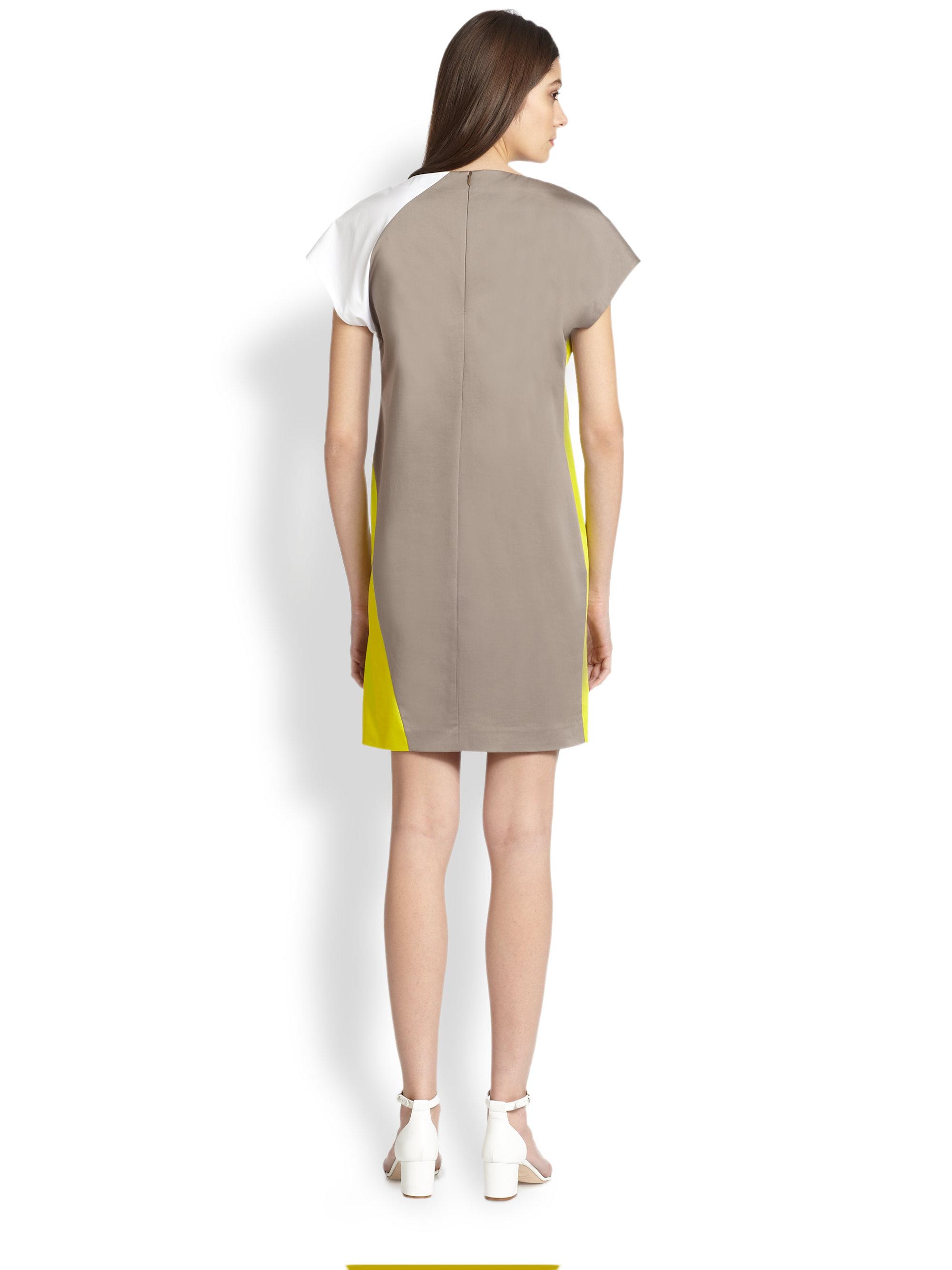 Lyst Piazza Sempione Cotton Sateen Colorblock Dress