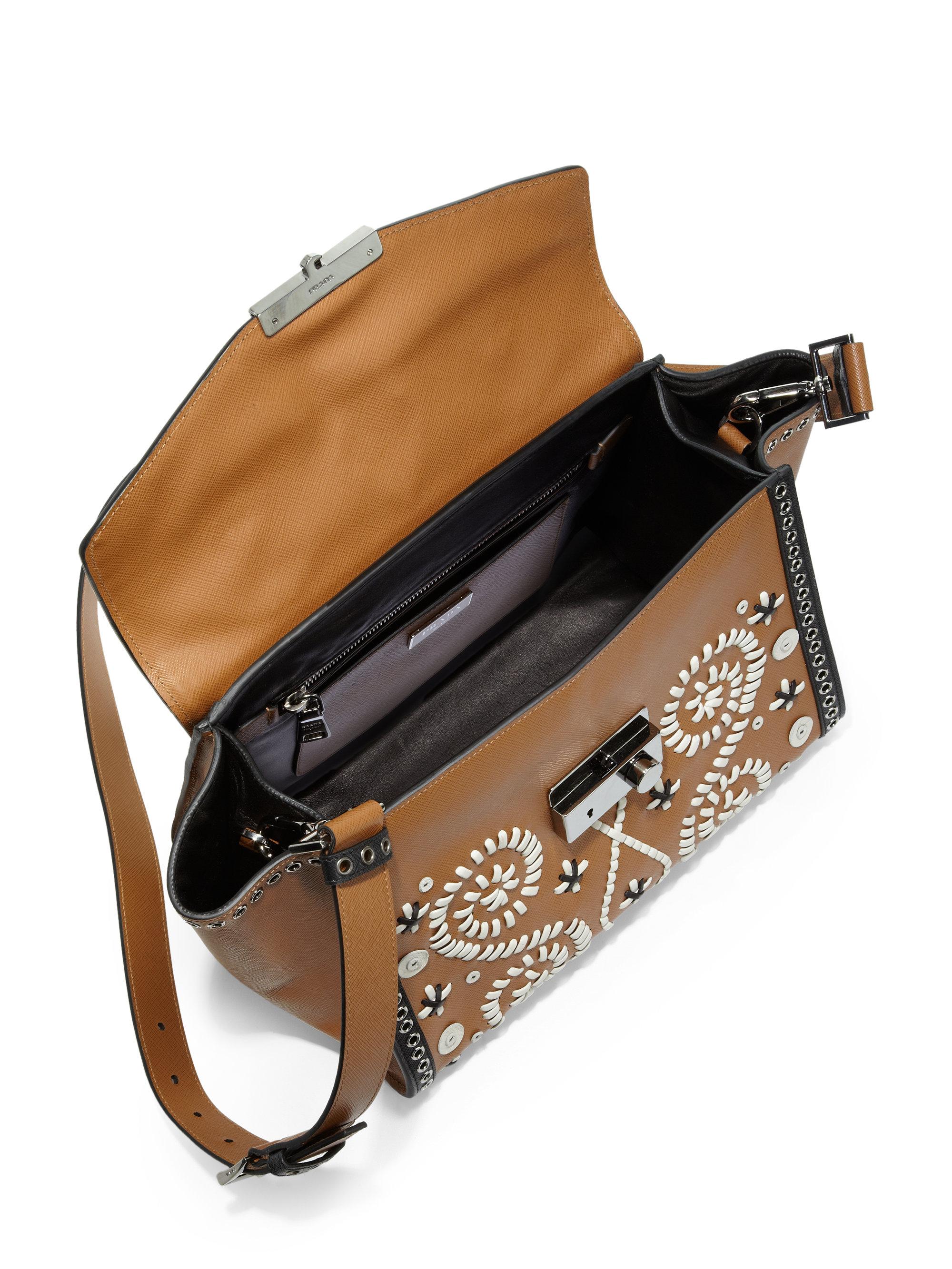 Prada Saffiano Embroidered Shoulder Bag in Brown (CARAMELLO ...