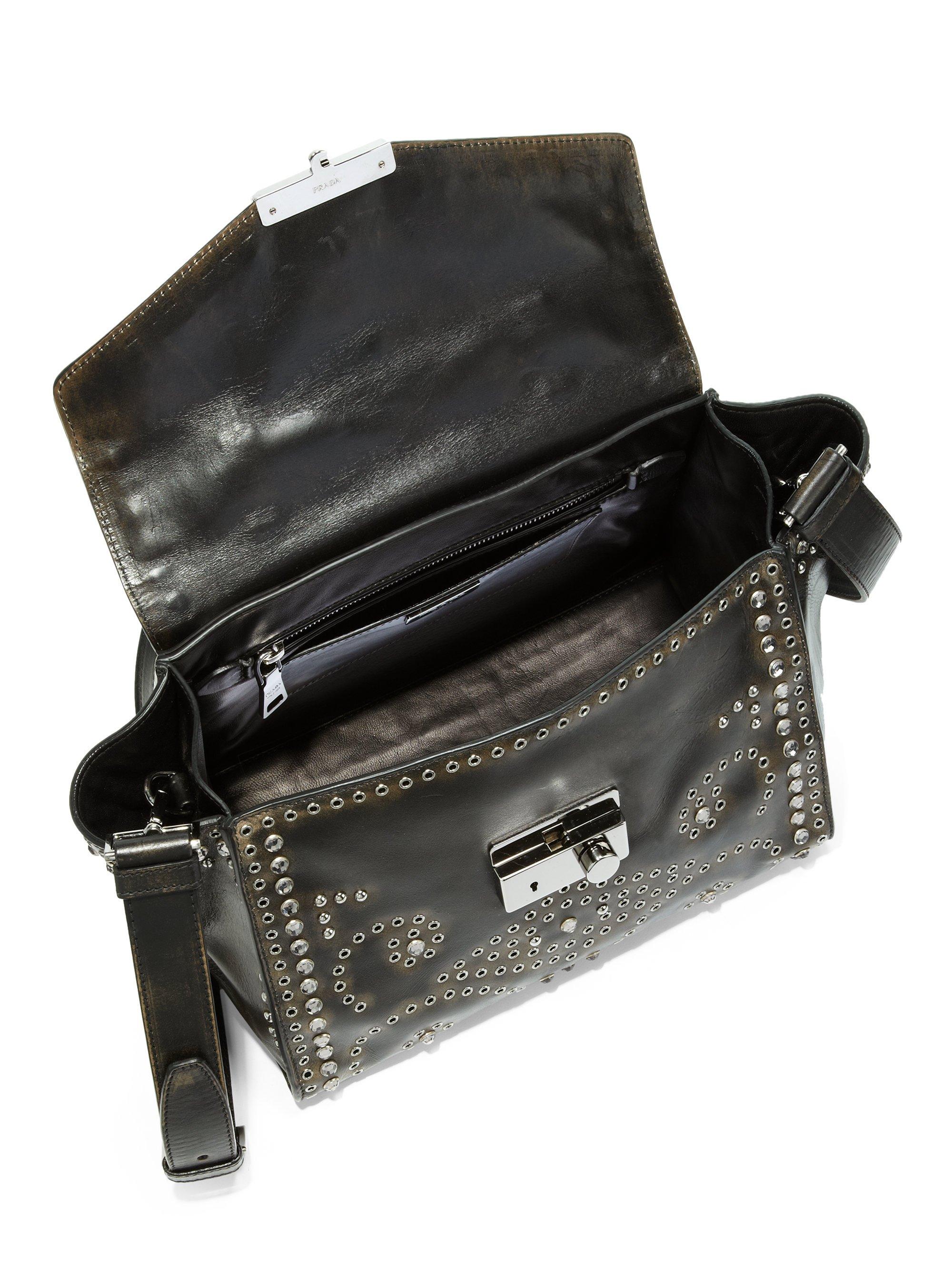 buy prada bag - Prada Vitello Vintage Embellished Shoulder Bag in Brown | Lyst
