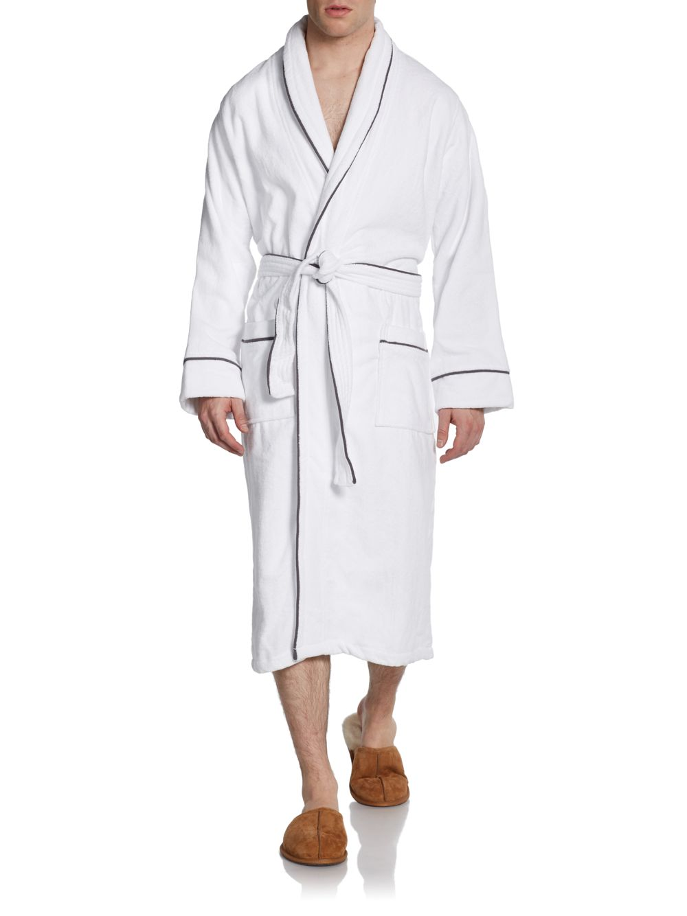 Saks fifth avenue black long egyptian cotton robe in white for Saks 5th avenue robes de mariage