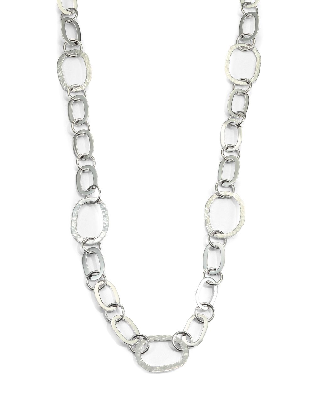 Saks fifth avenue Sterling Silver Mixed Link Necklace in ...