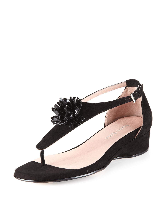 Lyst Taryn Rose Kandi Wedge Thong Sandal In Black