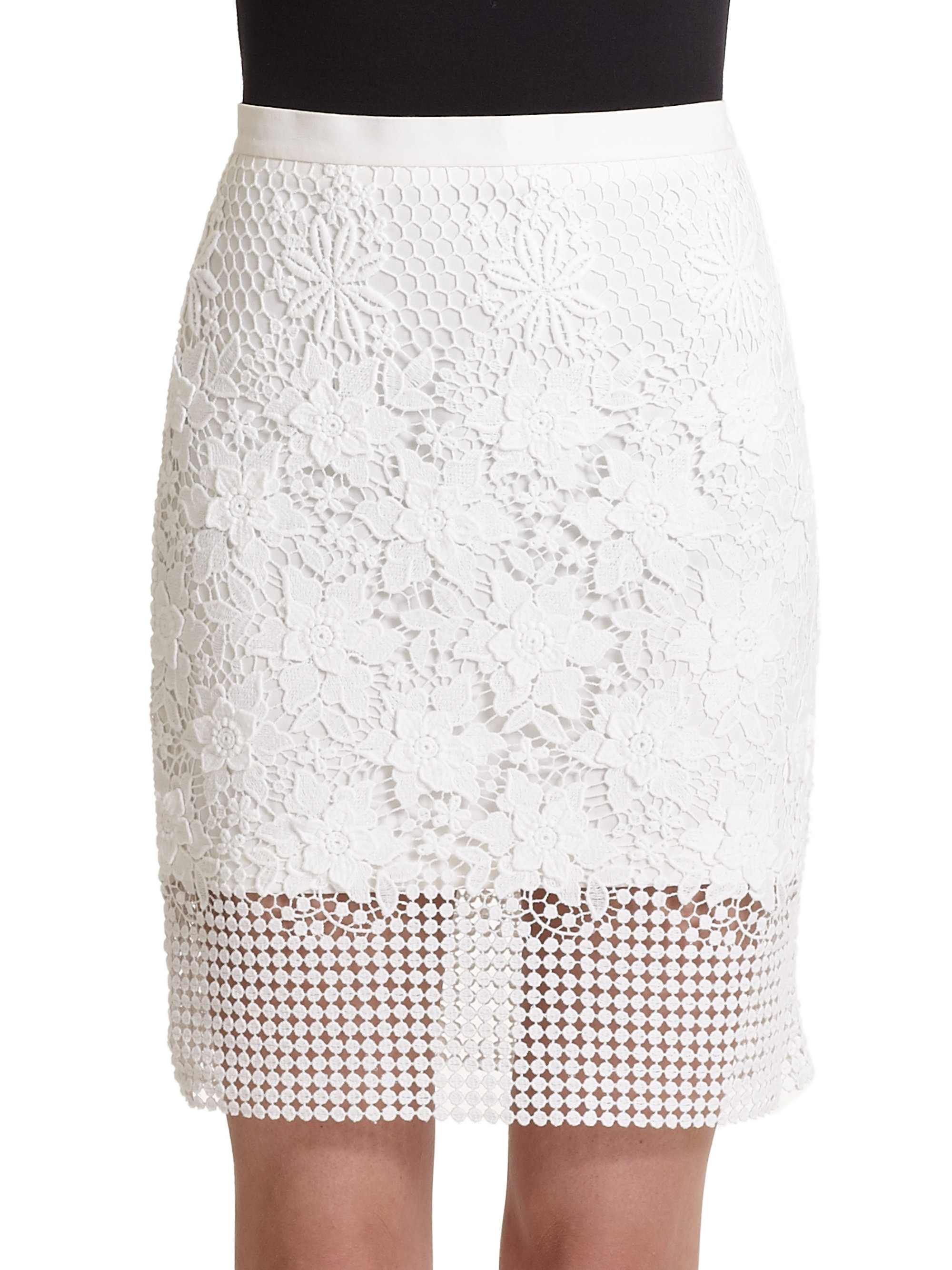 tibi basia guipure lace cotton pencil skirt in white lyst